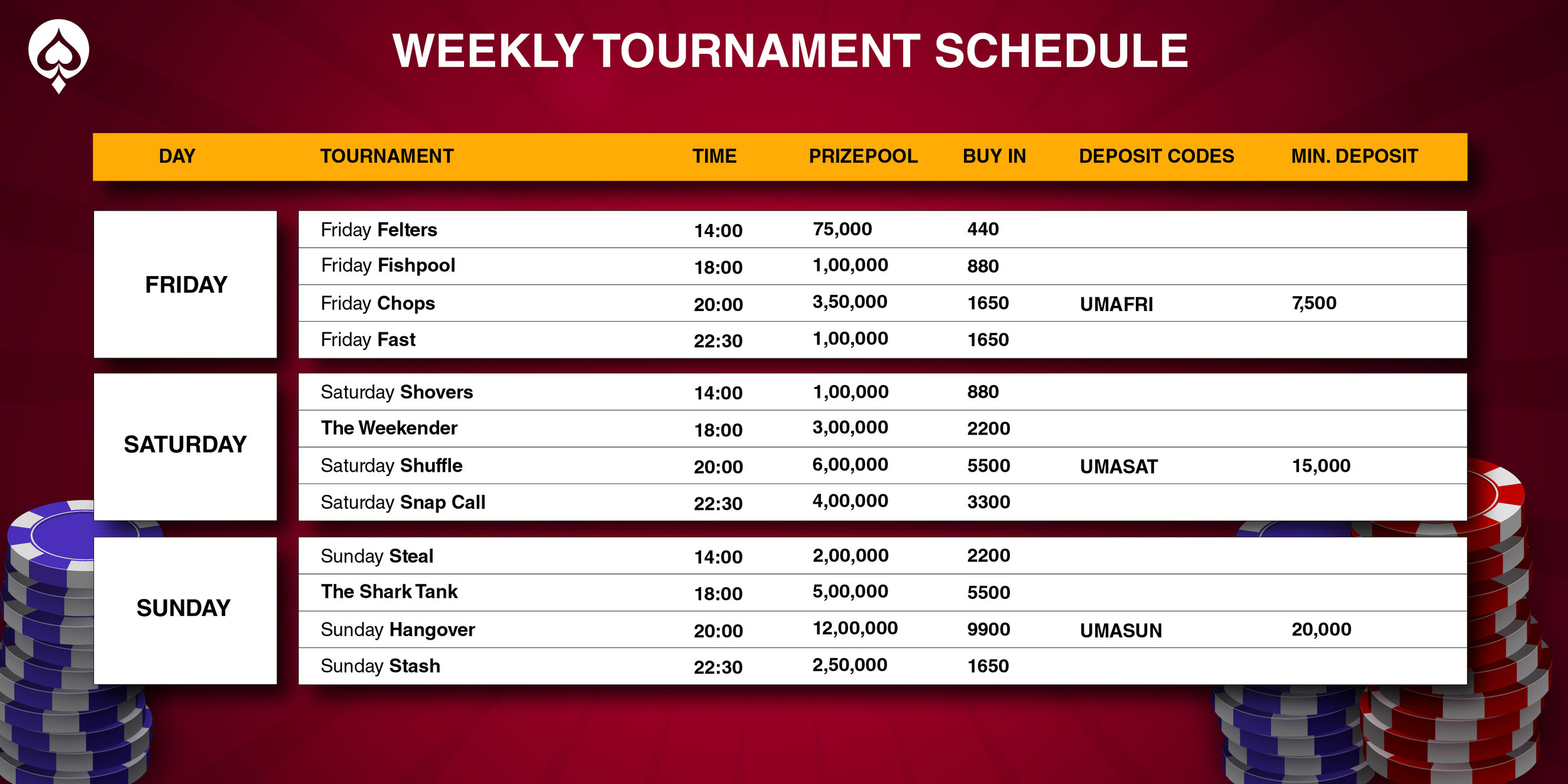 UMA Poker weekly special schedule 2