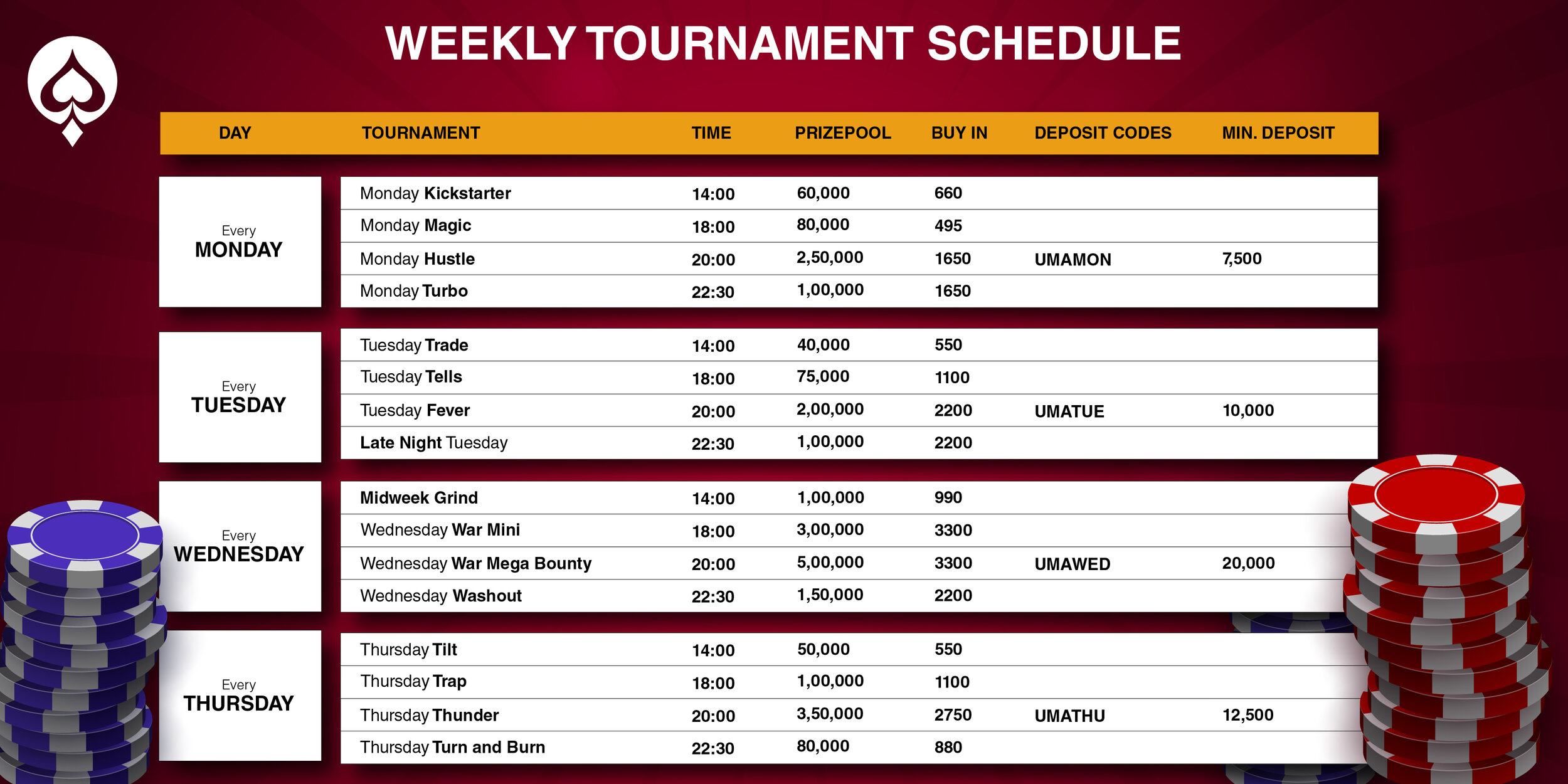 UMA Poker weekly special schedule1