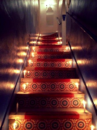 auberge stairs lit up