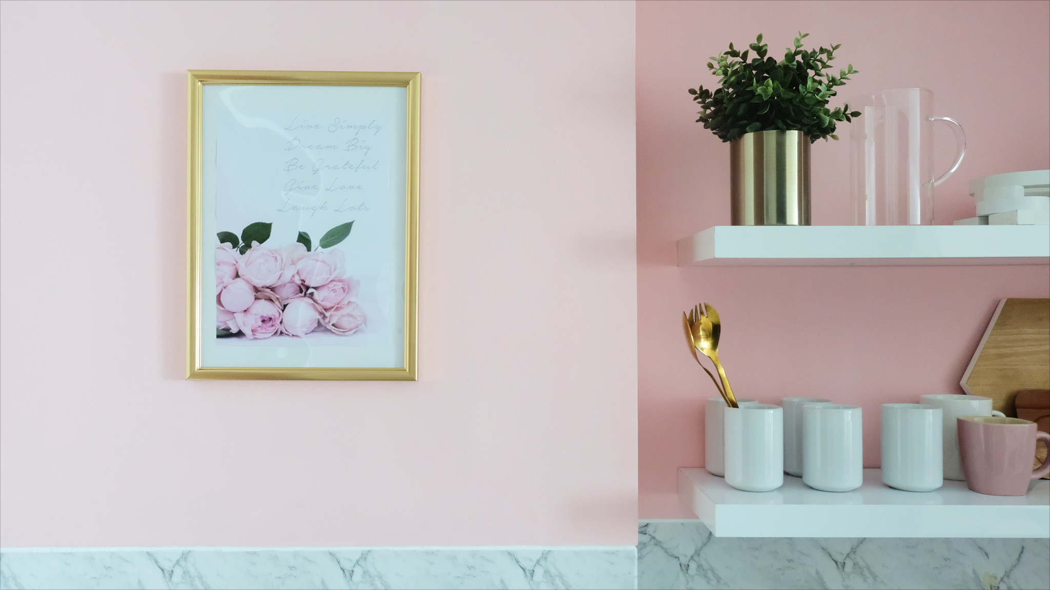 Pink + Gold + White Marble