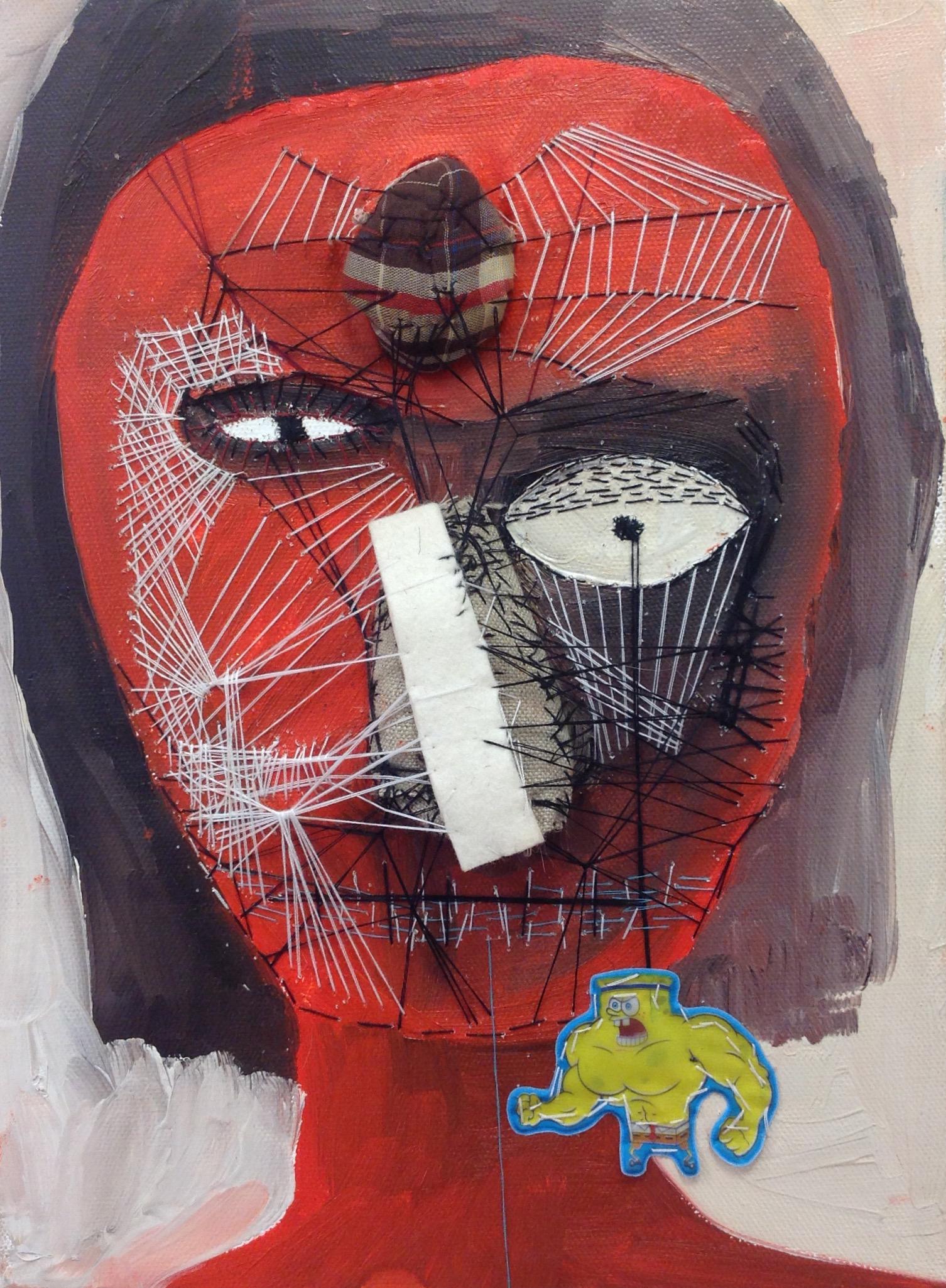 """Vivian, oil, felt and thread on canvas, 8""""x 10"""""""