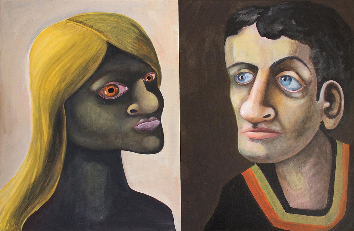 """Leona and Beau, 22"""" x 14"""", acrylic on canvas"""