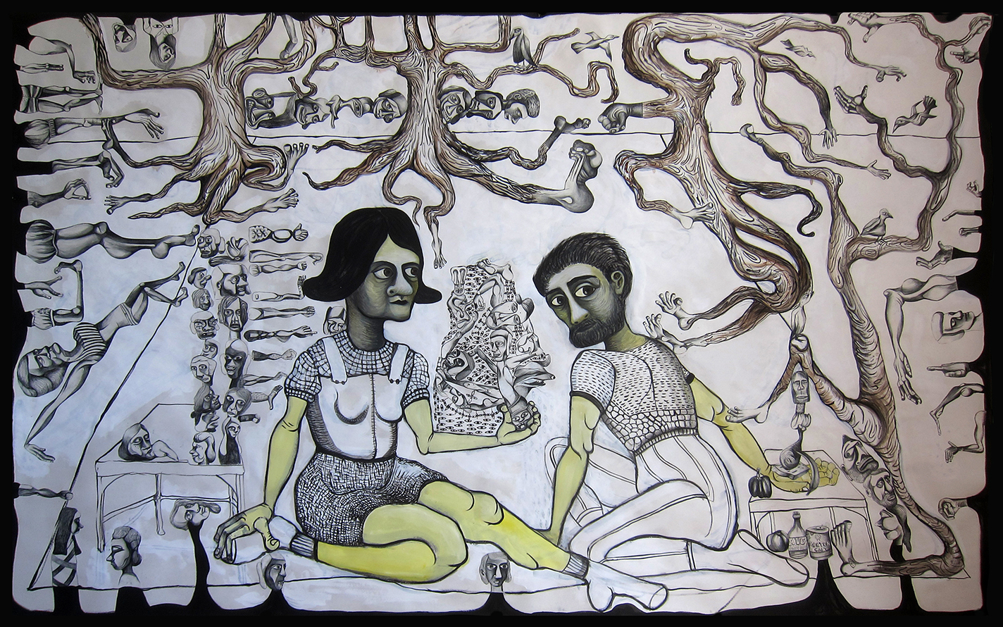 """Forgiveness Picnic, 84""""x 60"""", oil and collage drawings on paper"""