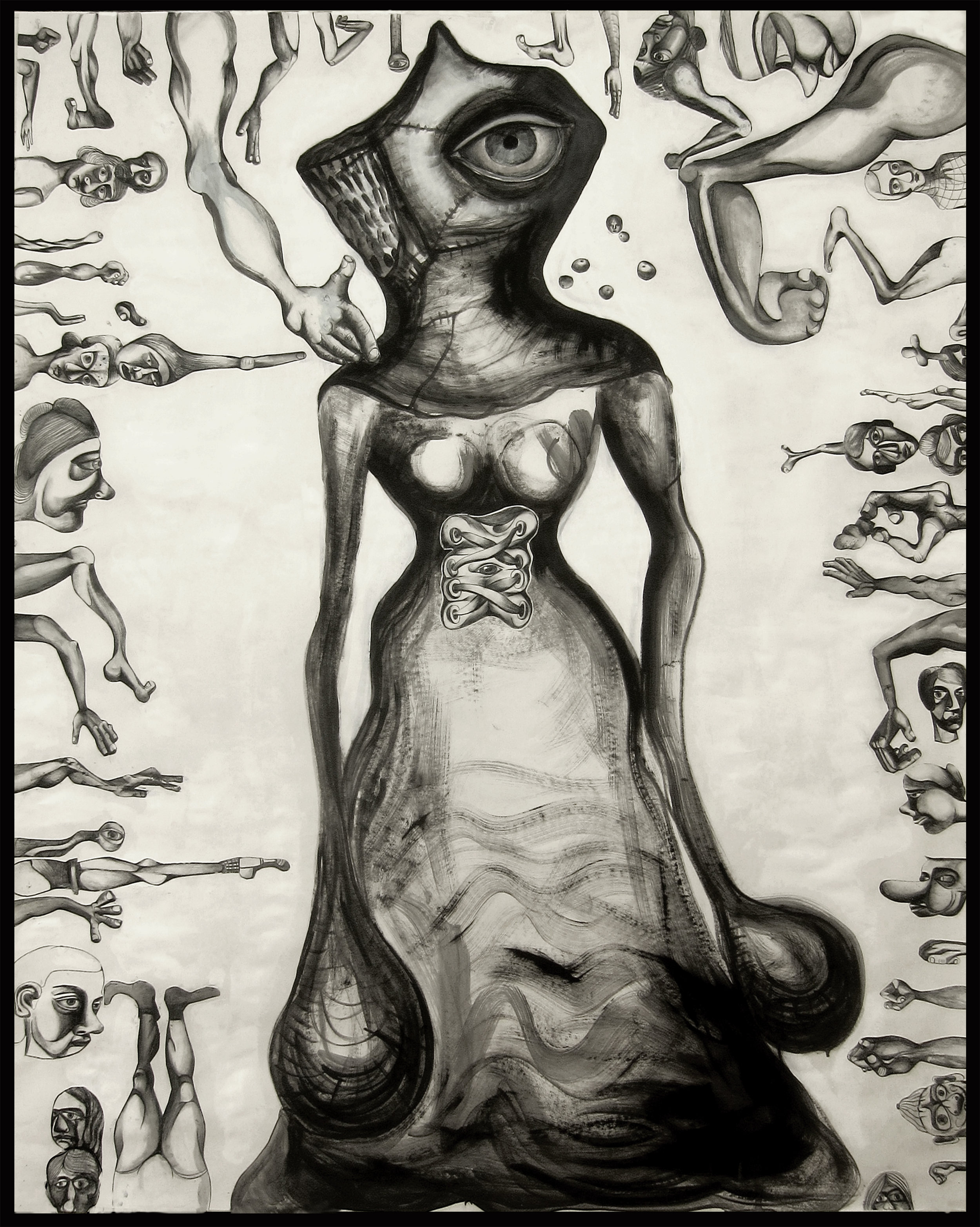 """The Watcher, 40"""" x 60"""", oil and collage drawings on paper"""