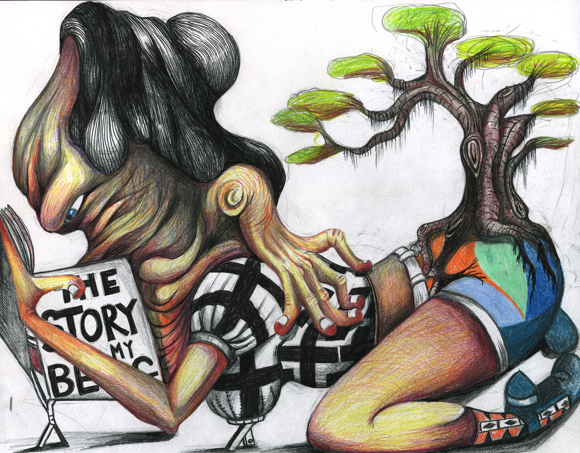 """Florine reads the story of her beginning, 11x 8"""", color pencil on paper"""