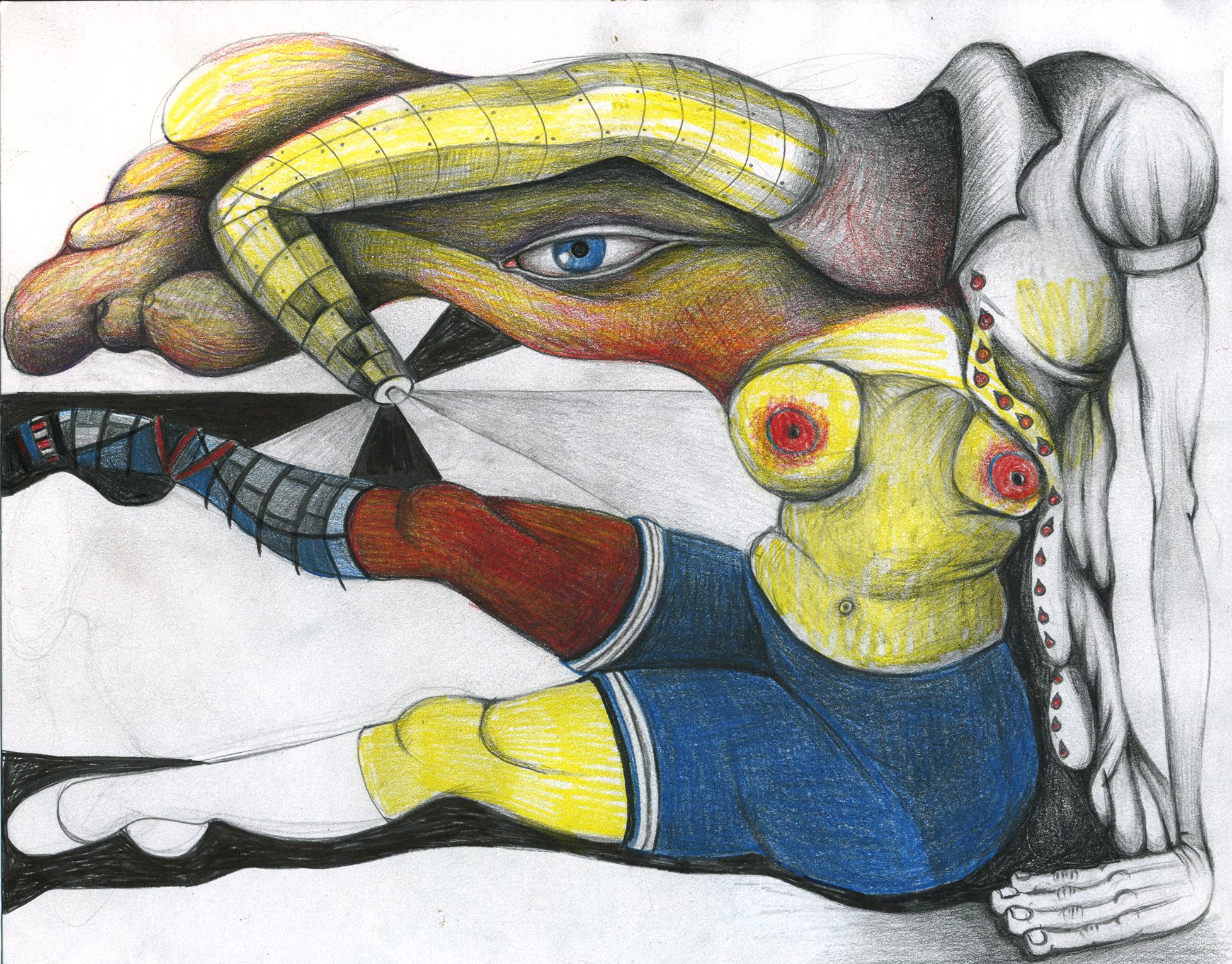 """Florine dutifully performing leg lifts while holding back the tide of time, 11""""x 8"""", color pencil on paper"""