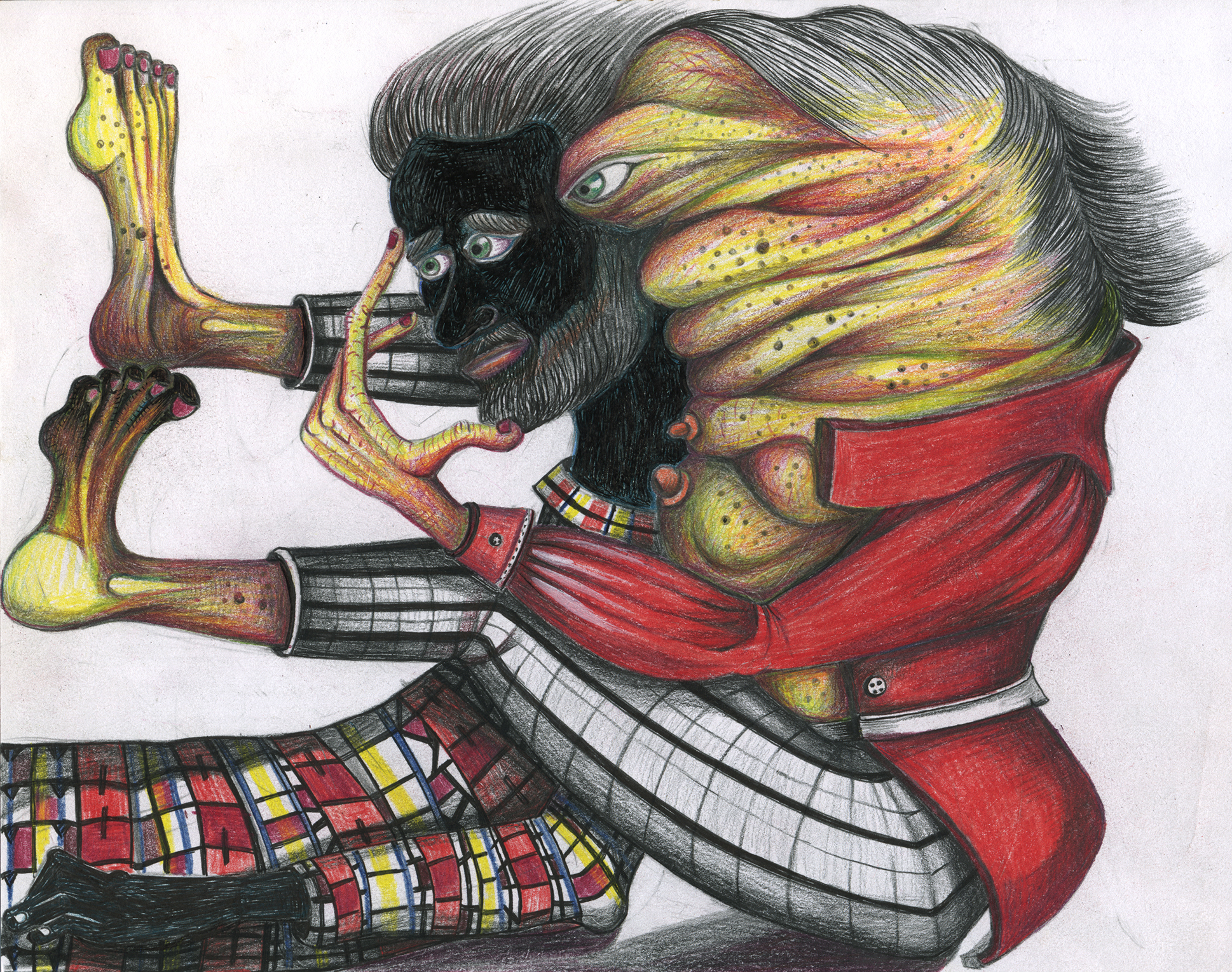 """Florine trying to get inside the head of her sensitive man,11""""x 8"""", color pencil on paper"""