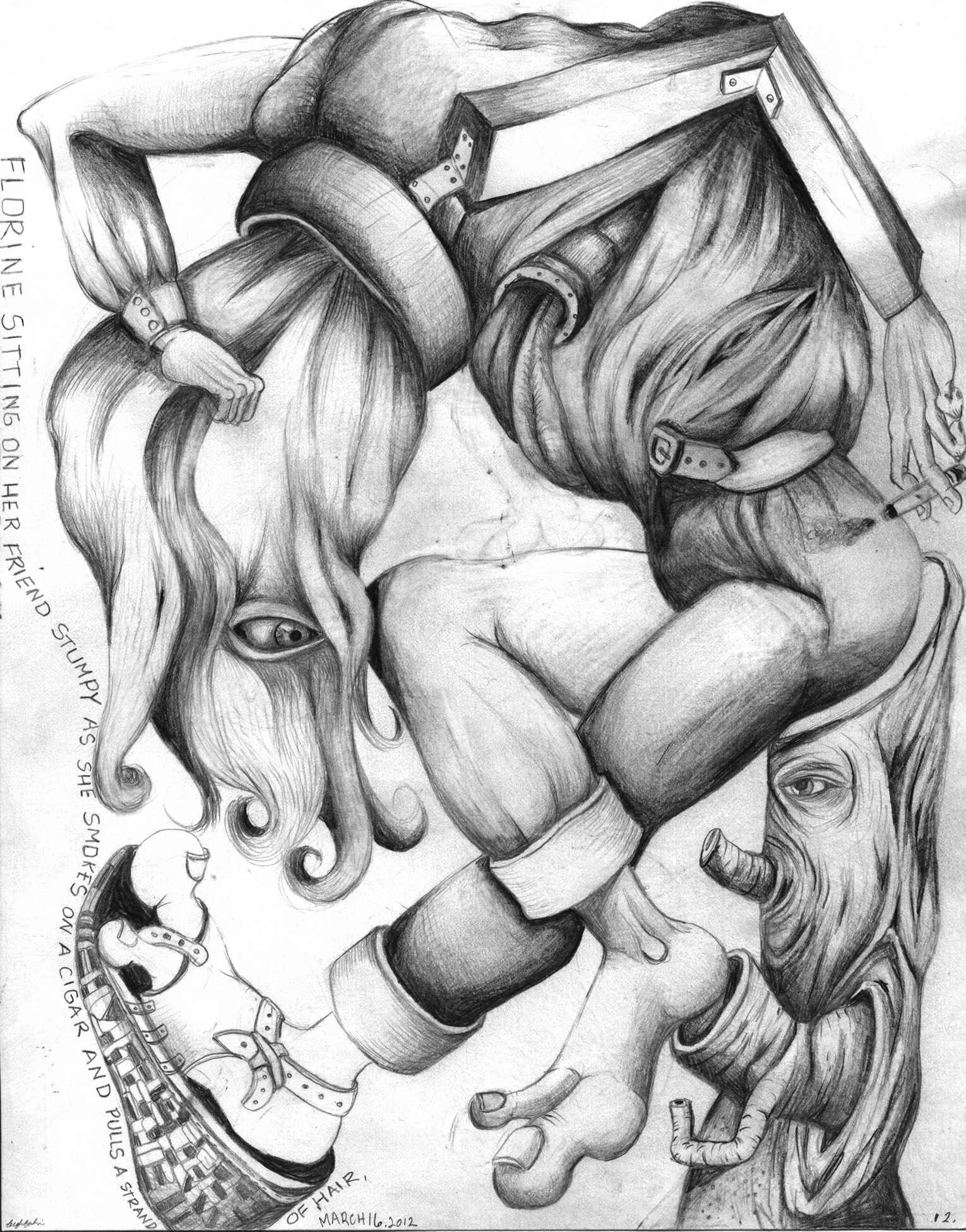 """Florine and her friend Stumpy, 8""""x 11"""", pencil on paper"""