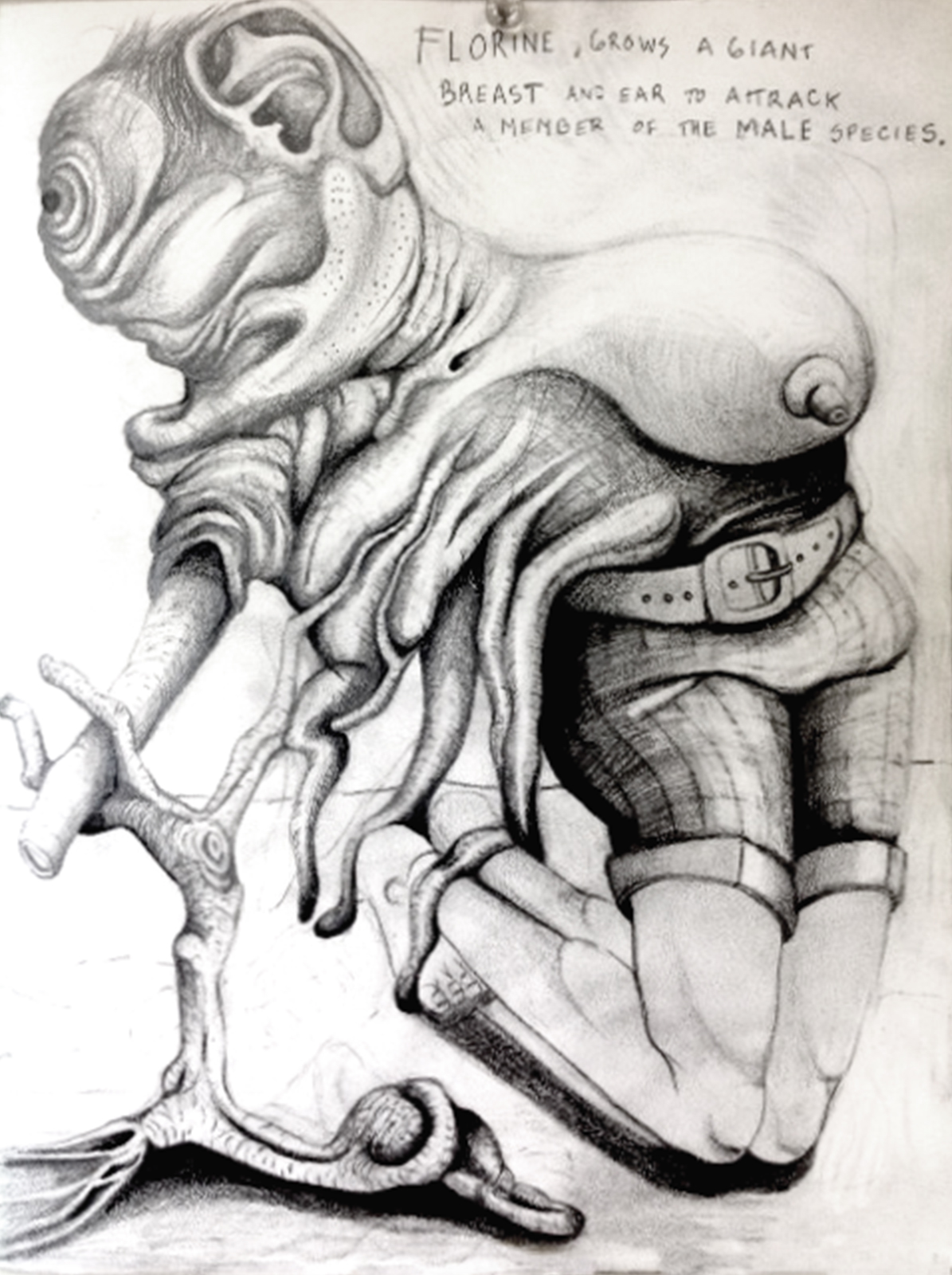 """Florine grows a giant boob, 8""""x 11"""", pencil on paper"""