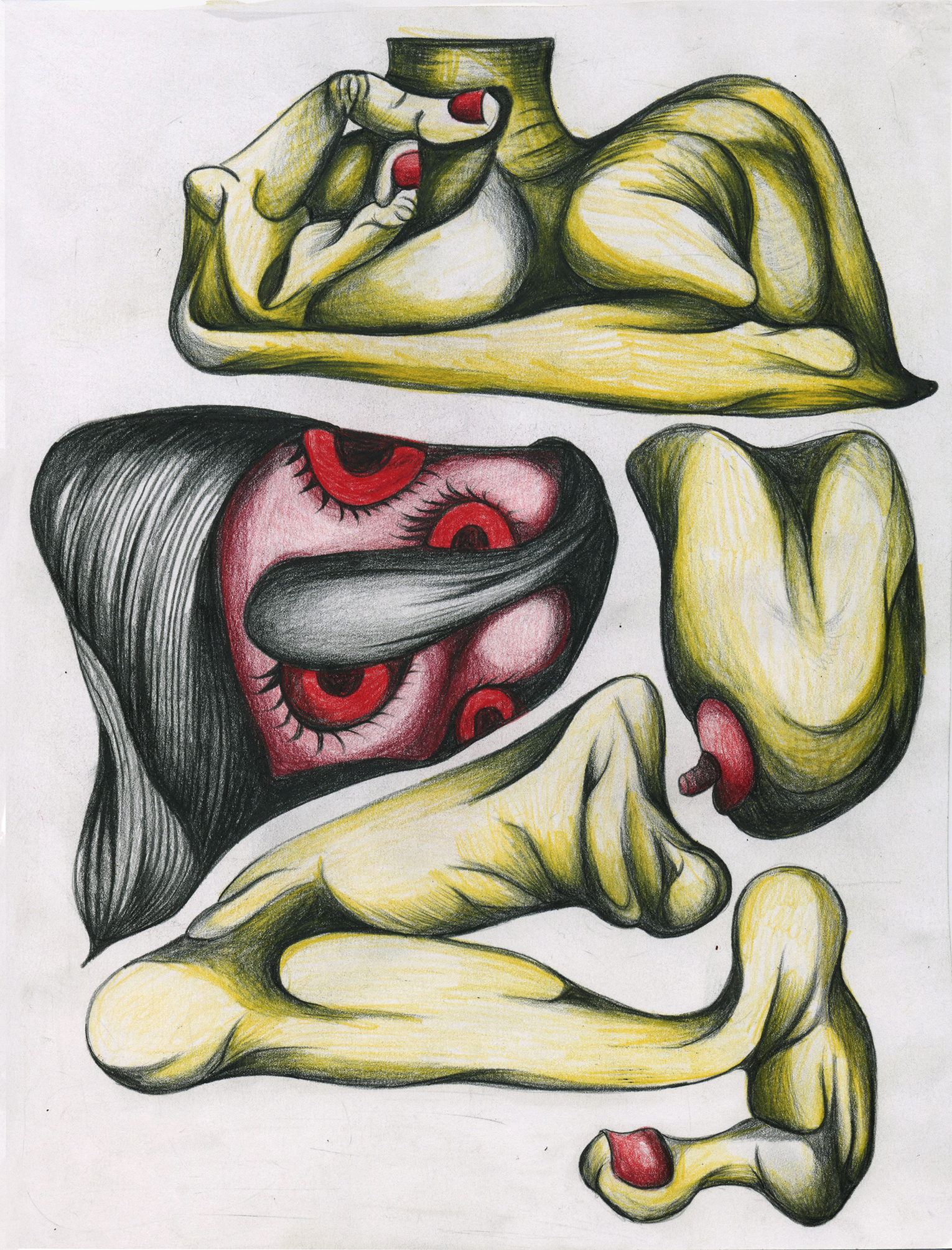 "Pulled apart to be reassembled, color pencil on paper, 8""x 11"""