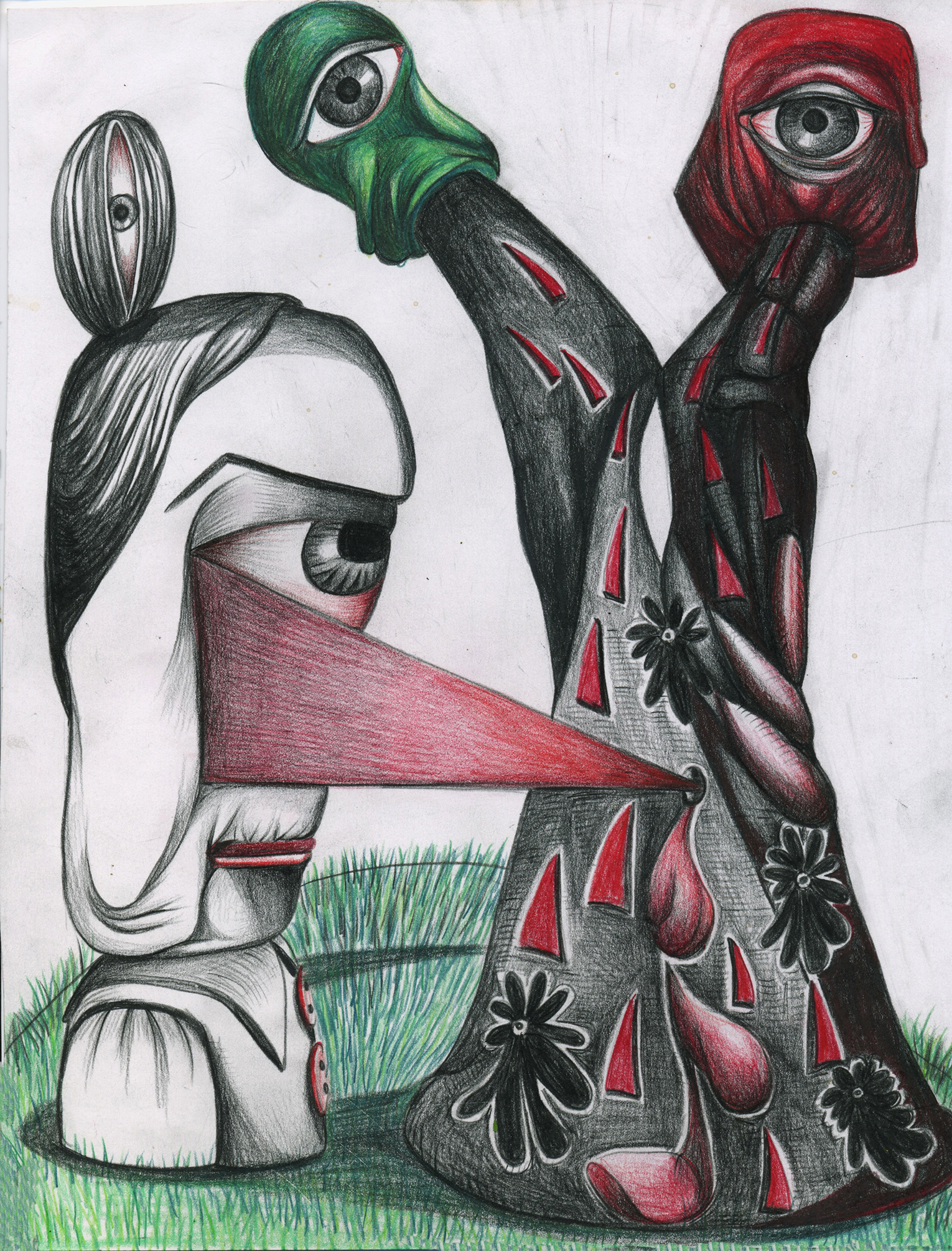 """Bully of the Quad, color pencil on paper, 8""""x 11"""""""