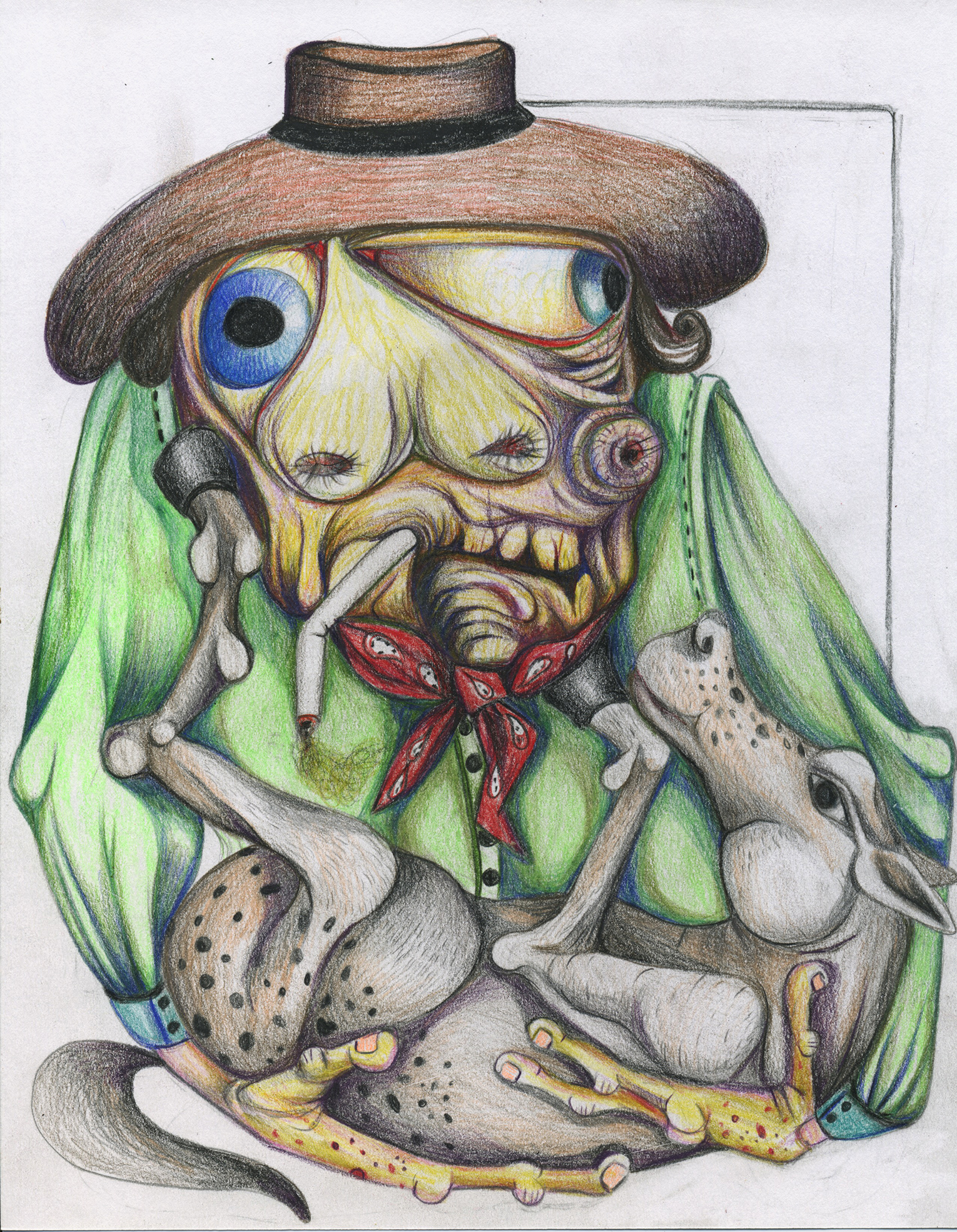 "The Old Cowboy,color pencil on paper, 8"" x 11"""