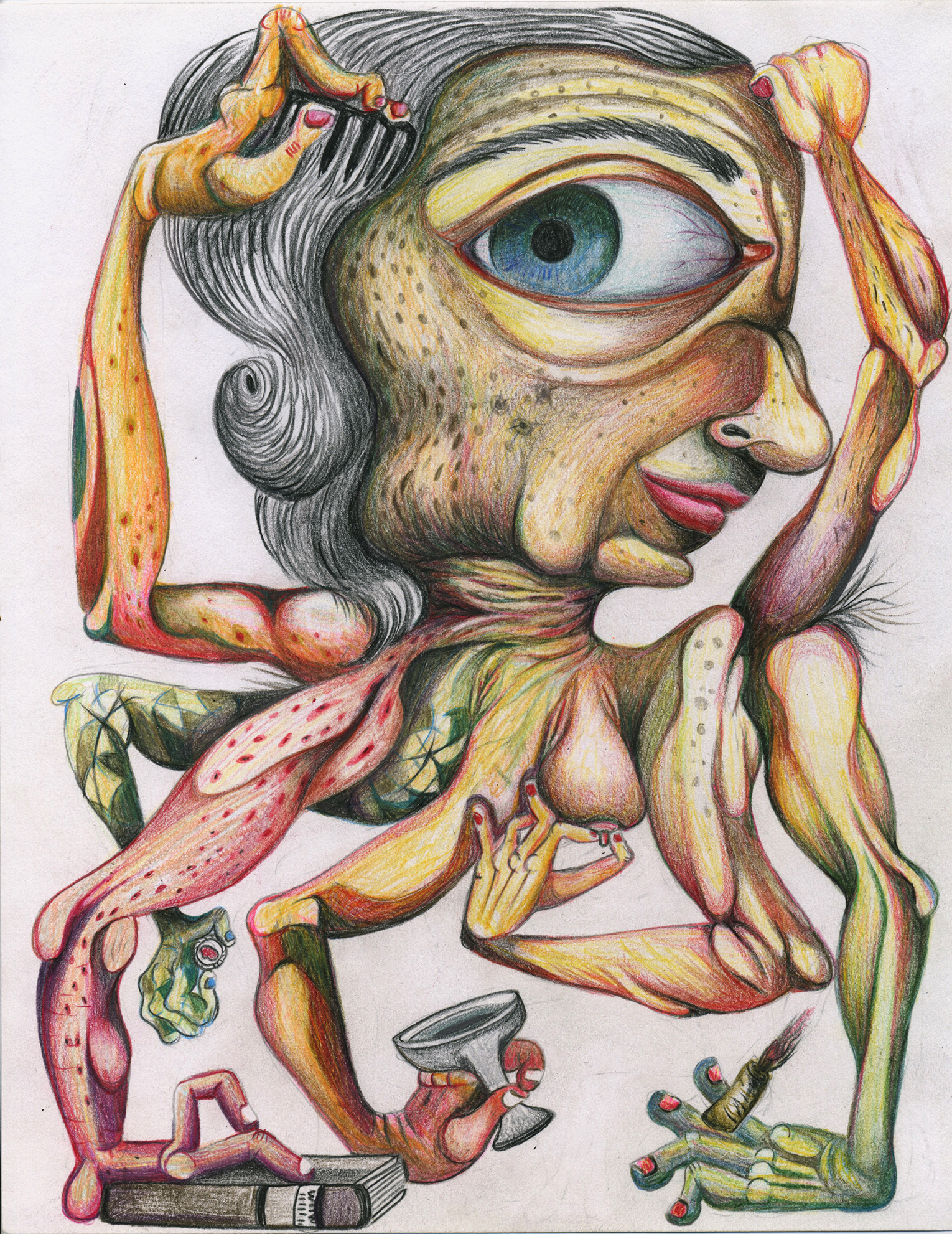 "She Monster, color pencil on paper, 8""x 11"""