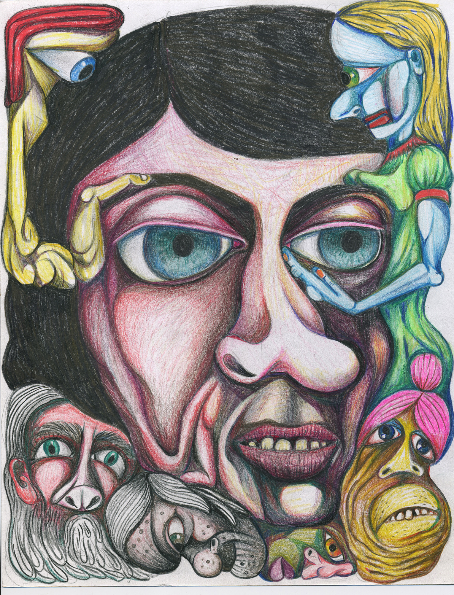 "Intruders, color pencil on paper, 8""x 11"""
