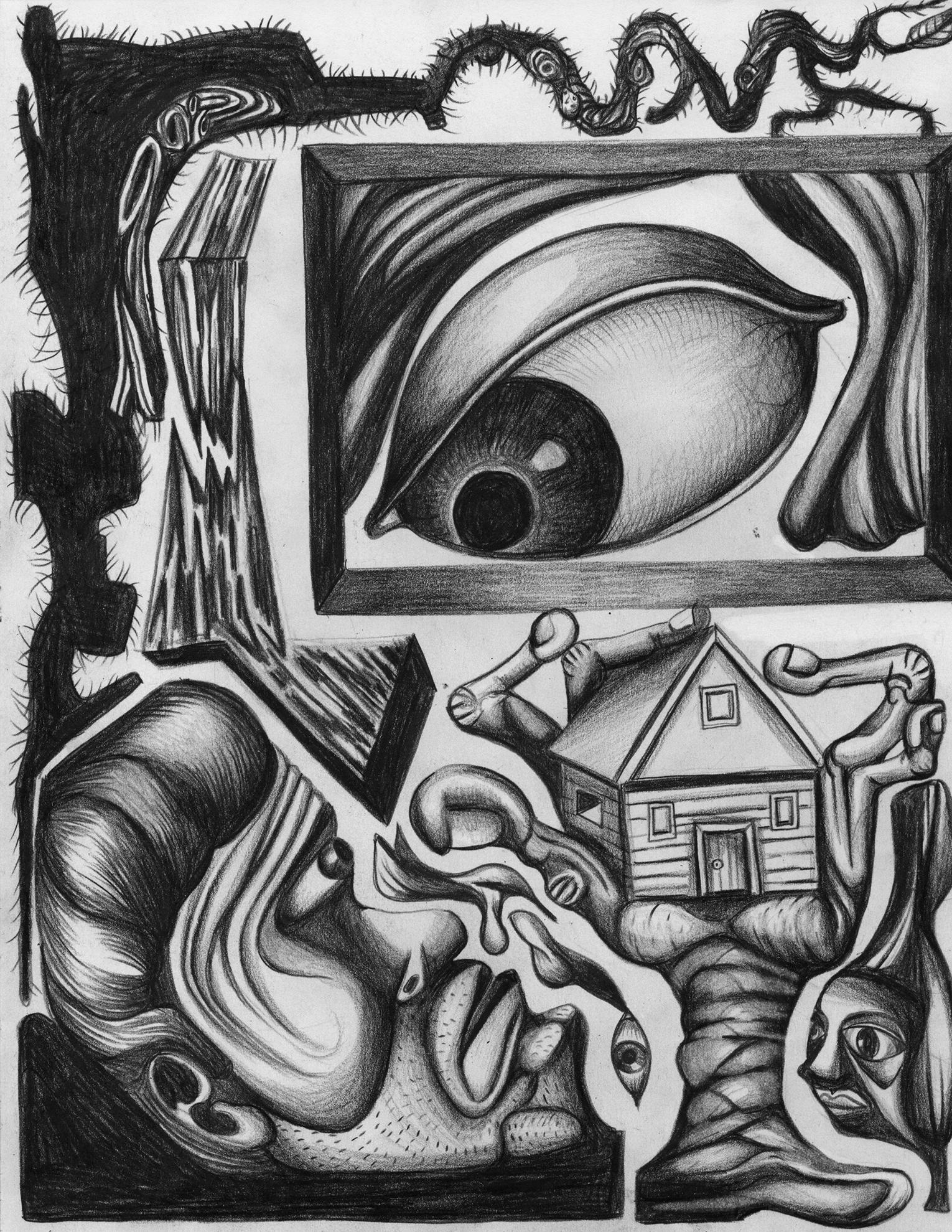 """Dream Scene for Mr X, color pencil on paper, 8""""x 11"""""""