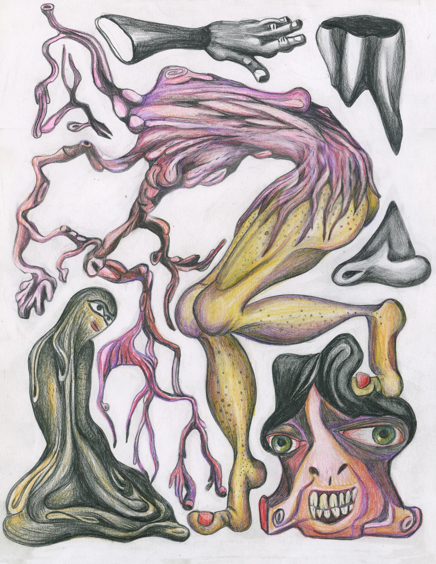 """Florine`s ballet, color pencil on paper, 8""""x 11"""""""