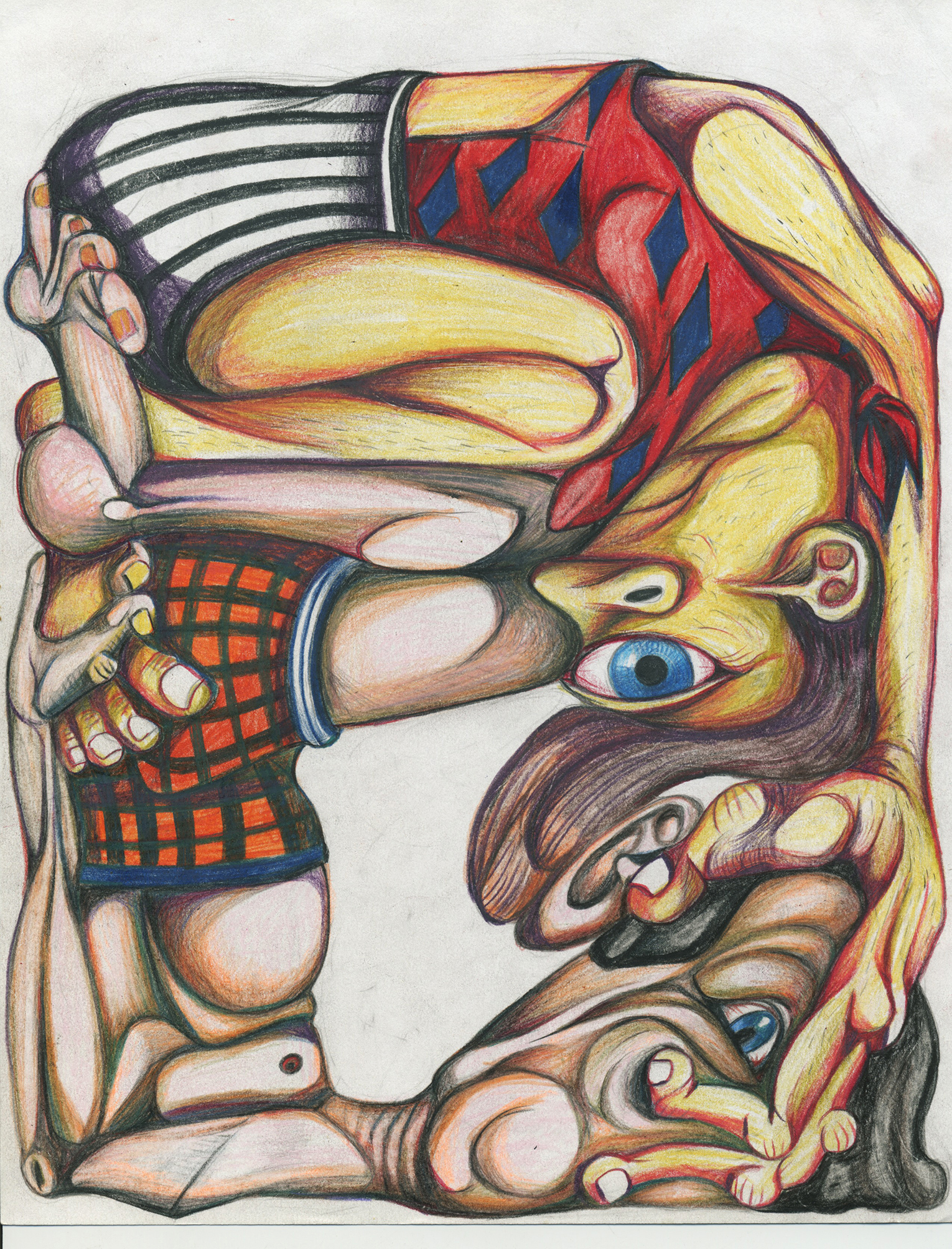 """Holding On, color pencil on paper, 8""""x 11"""""""