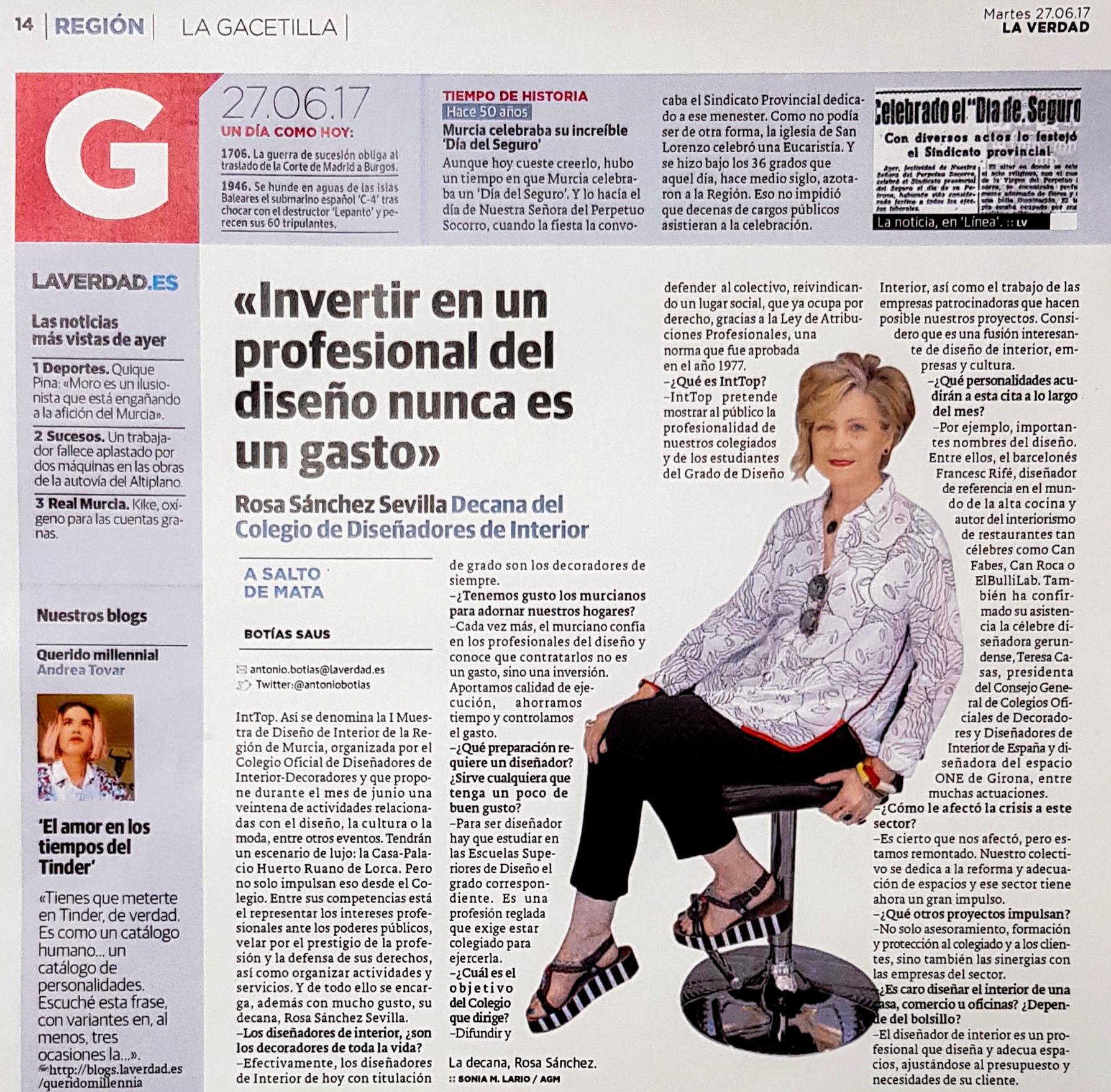 Entrevista a Rosa Sánchez en La Verdad Murcia