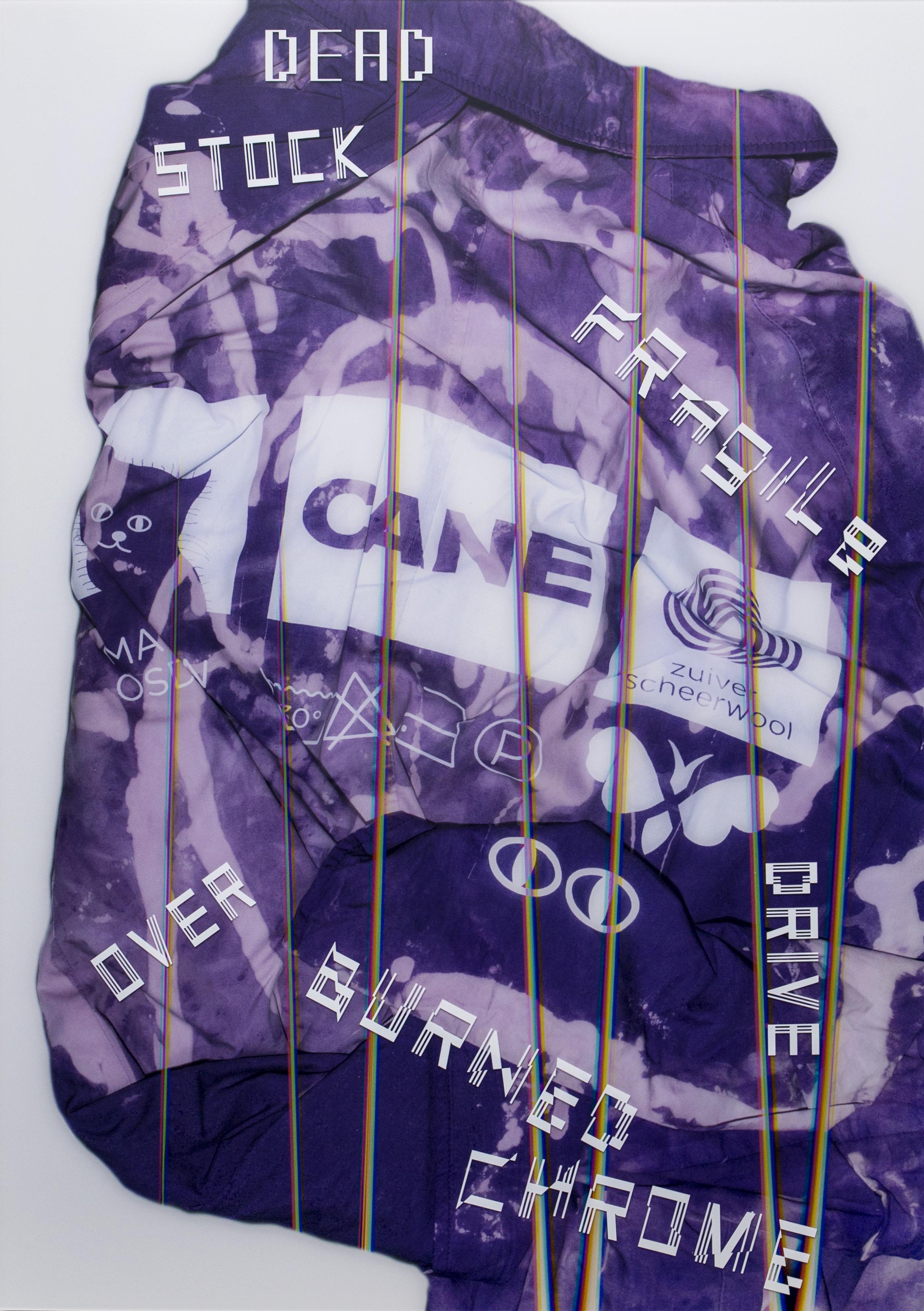 Purple Lizotte - Avoidstreet, Purple Lizotte, 2018levensgrote scan, inkjet print, vinyl op diasec aluminium, 84,10 x 118,9 cm, met dank aan Mikel Orfanos, uniek€ 2.000,- incl. btw, certificaat van authenticiteit