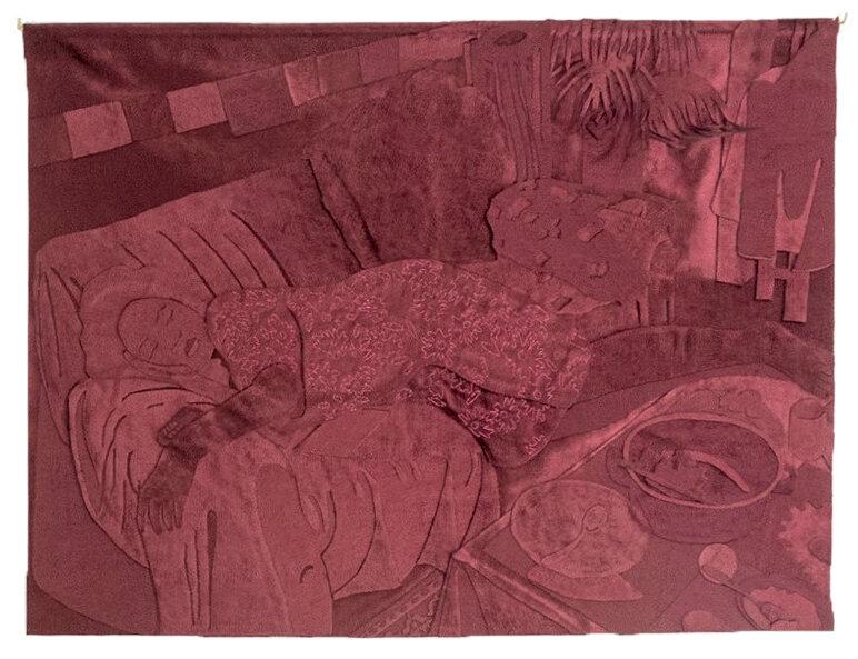 After Dinner - Joyce Overheul, After Dinner, uit de serie Iranian Velvet part II, 2019velours, hout, handgemaakt, ca. 75 x 100 x 0,5cm, uniek€ 1.700,- incl. btw, certificaat van authenticiteit