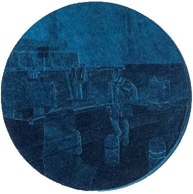 Iranian Velvet - Joyce Overheul, Iranian Velvet, 2019velvet on canvas, handmade during Aria Residency Tehran, diameter ca. 50 x 5cm, unique€ 1.100,- incl. VAT, certificate of authenticity