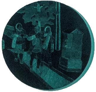 Iranian Velvet - Joyce Overheul, Iranian Velvet, 2019velvet on canvas, handmade during Aria Residency Tehran, diameter ca. 40 x 4cm, unique€ 900,- incl. VAT, certificate of authenticity