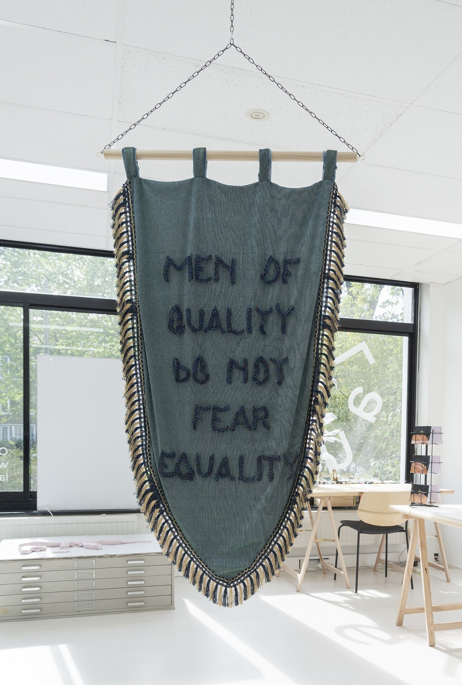 Men of Quality - Joyce Overheul, Men of Quality, 2019glass beads, metallic polyester, velvet, wood, handmade during Aria Residency Tehran, ca. 138 x 80 x 2cm, unique€ 3.350,- incl. VAT, certificate of authenticity