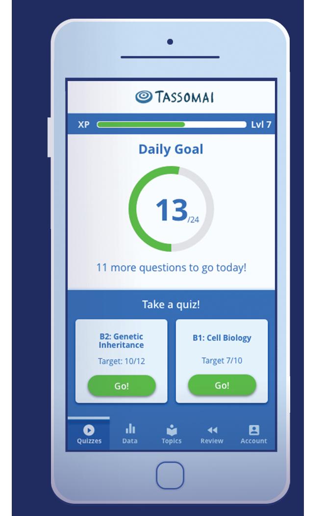 Tassomai mobile phone with app