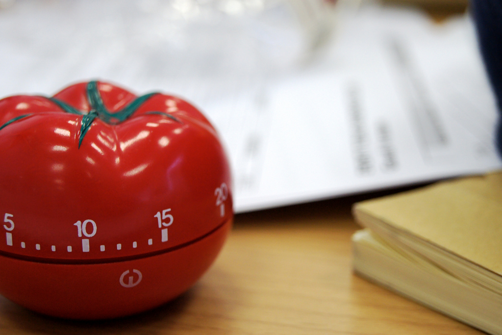 A Pomodoro (tomato) kitchen timer, after which the method is named.    Image Source