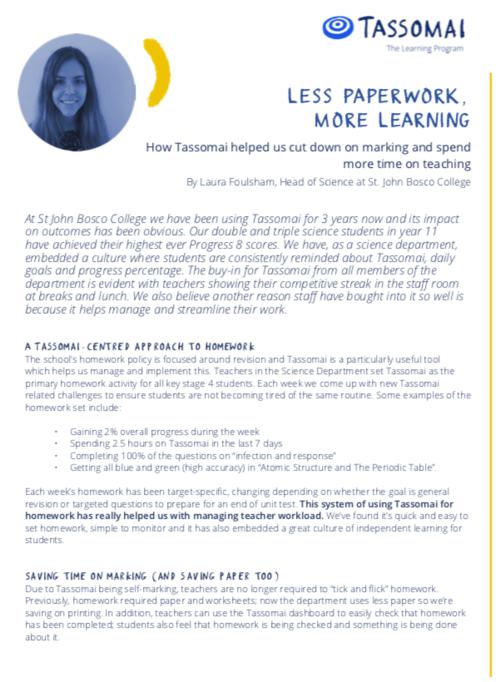 Less paperwork, more learning — Tassomai