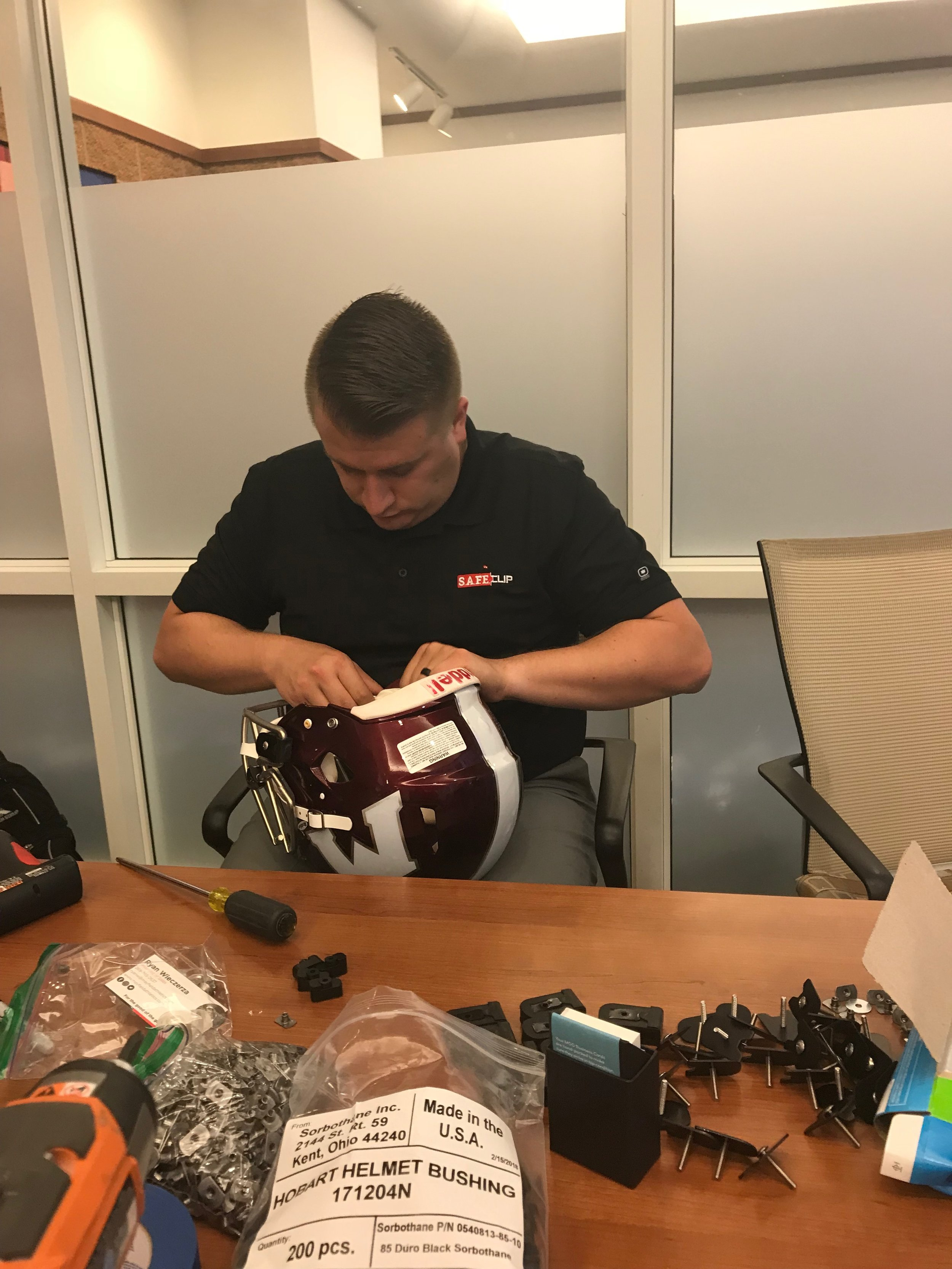 SAFEClip team installing Clips for High School Game