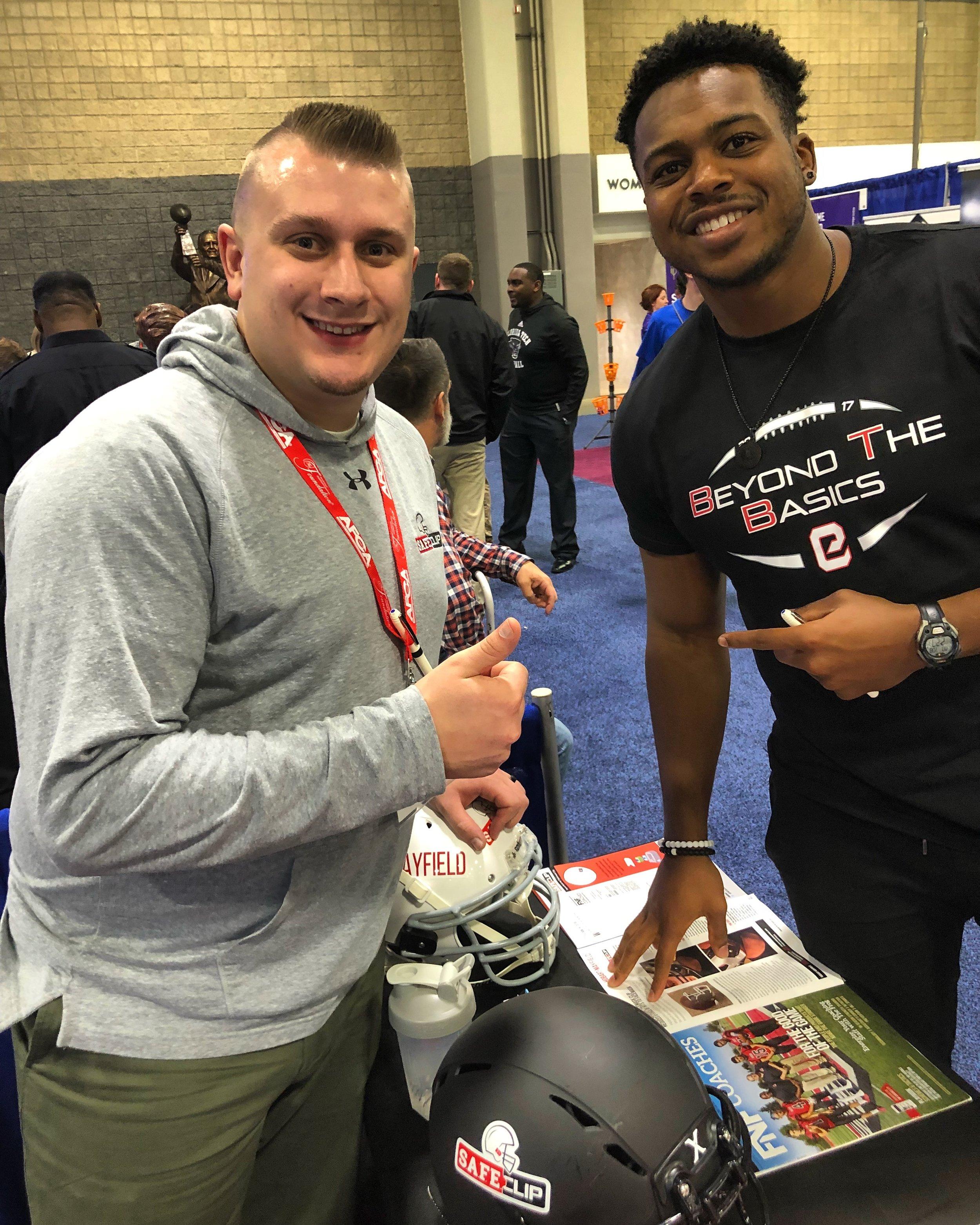 SAFEClip with Brandon Copeland (NFL Line Backer) at AFCA convention