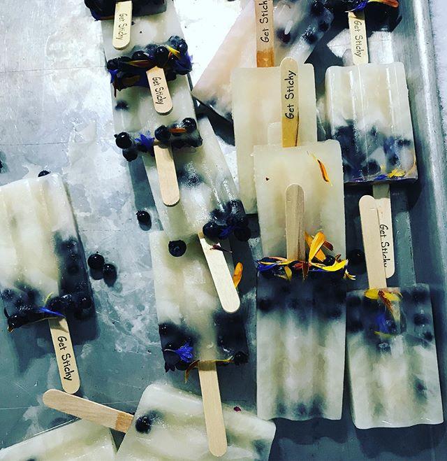 // Pretty lil Tart Maple Lemonade with @elderflowerfarm fresh lil whole blueberries & @finelinefarm edible flower pops out in the world this week // #buylocal #getlocalwithit #prettypops #smallbatch #getsticky #poplife #ladybiz #mainepops #newbs