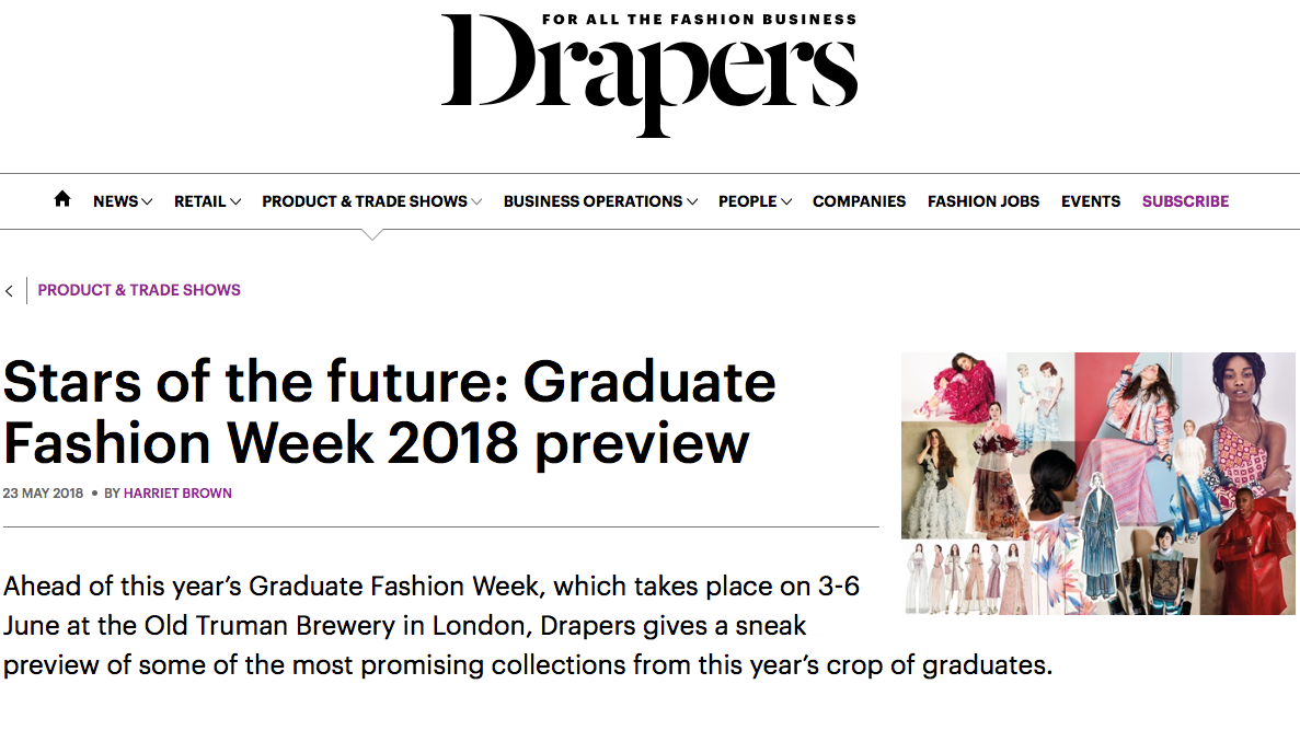 Drapers - Stars of the future: Graduate Fashion Week 2018 preview23/05/2018