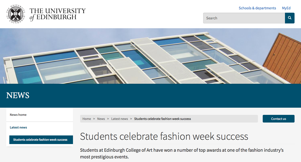The University of Edinburgh Press - Students celebrate fashion week success07/06/2018