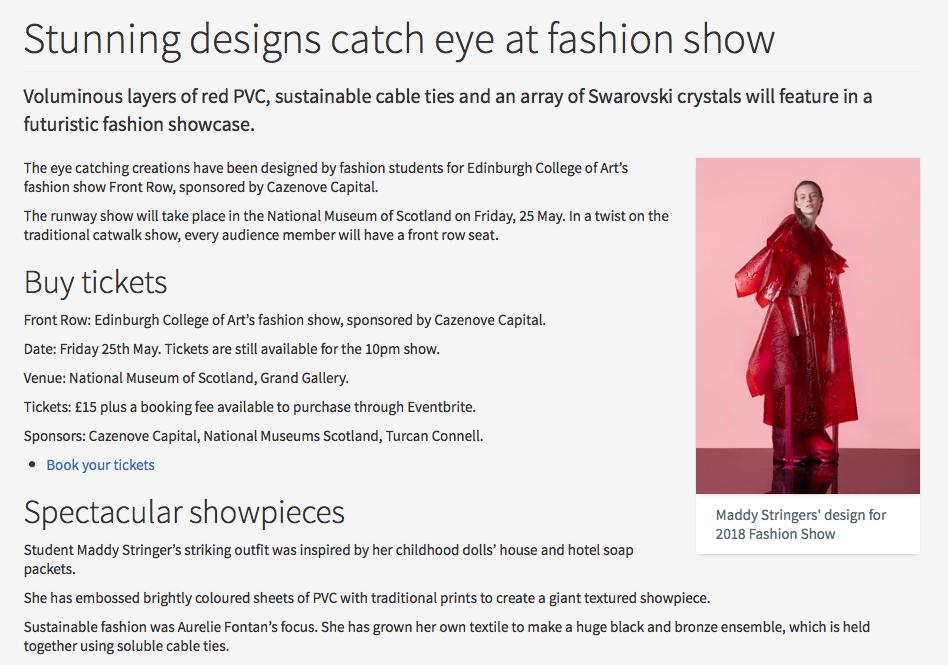 The University of Edinburgh Press - Stunning Designs Catch Eye at Fashion Show21/05/2018