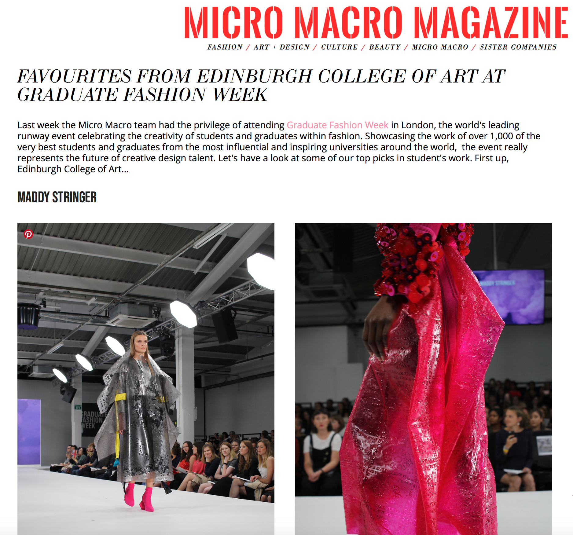 Micro Macro Magazine - Favourites from Edinburgh College of Art at Graduate Fashion Week15/06/2018