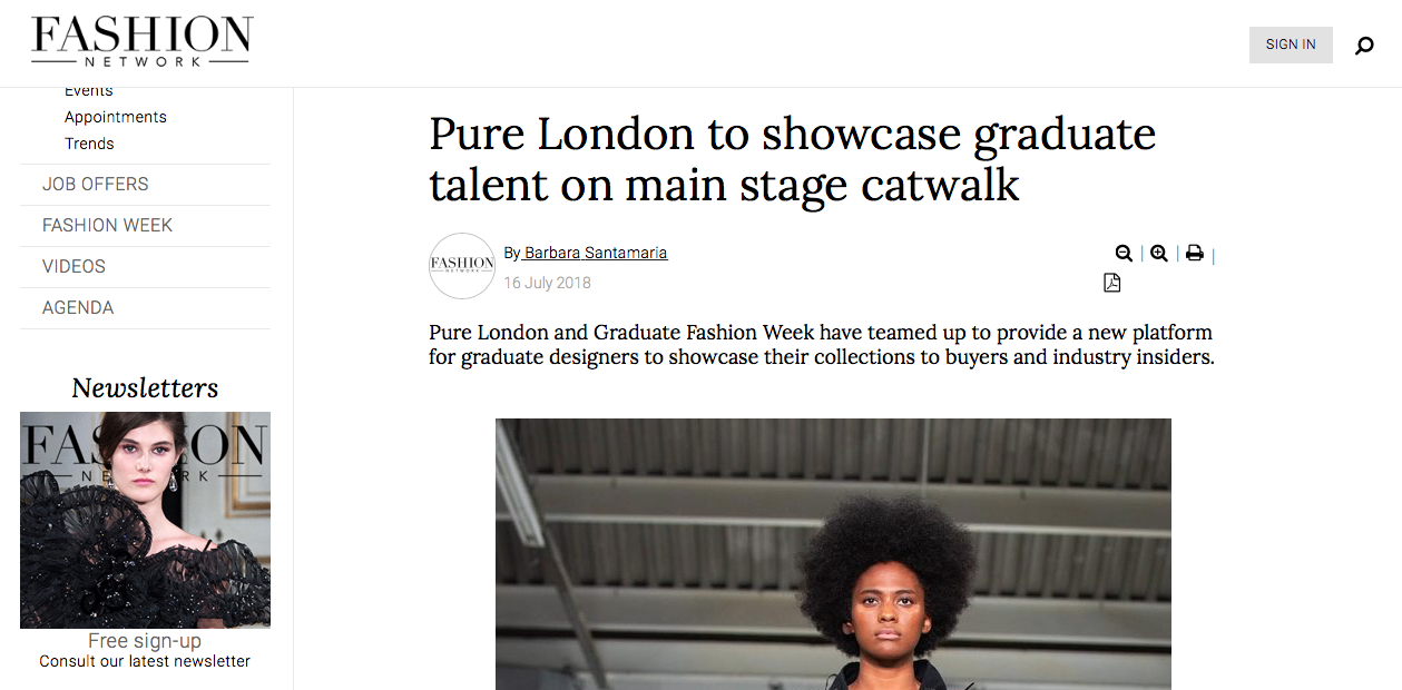 Fashion Network - Pure London To Showcase Graduate Talent On Main Stage Catwalk16/07/2018