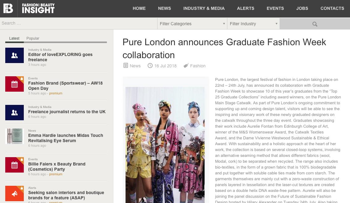 Fashion Insight - Pure London announces Graduate Fashion Week collaboration16/07/2018