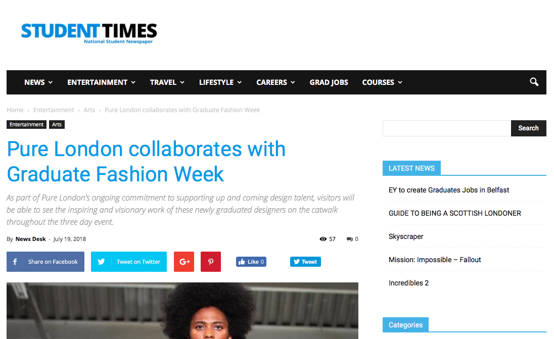 Student Times - Pure London collaborates with Graduate Fashion Week19/07/2018