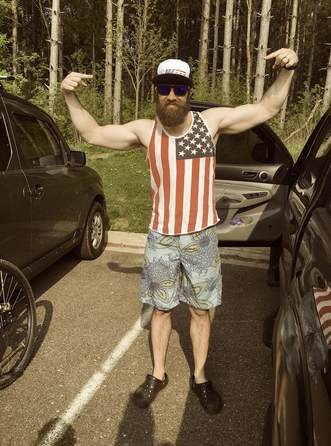 Tank top, check. Board shorts, check. Crocs, check. Life is Good.