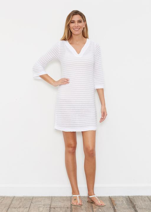 Banded 3/4 Sleeve Coverup Dress
