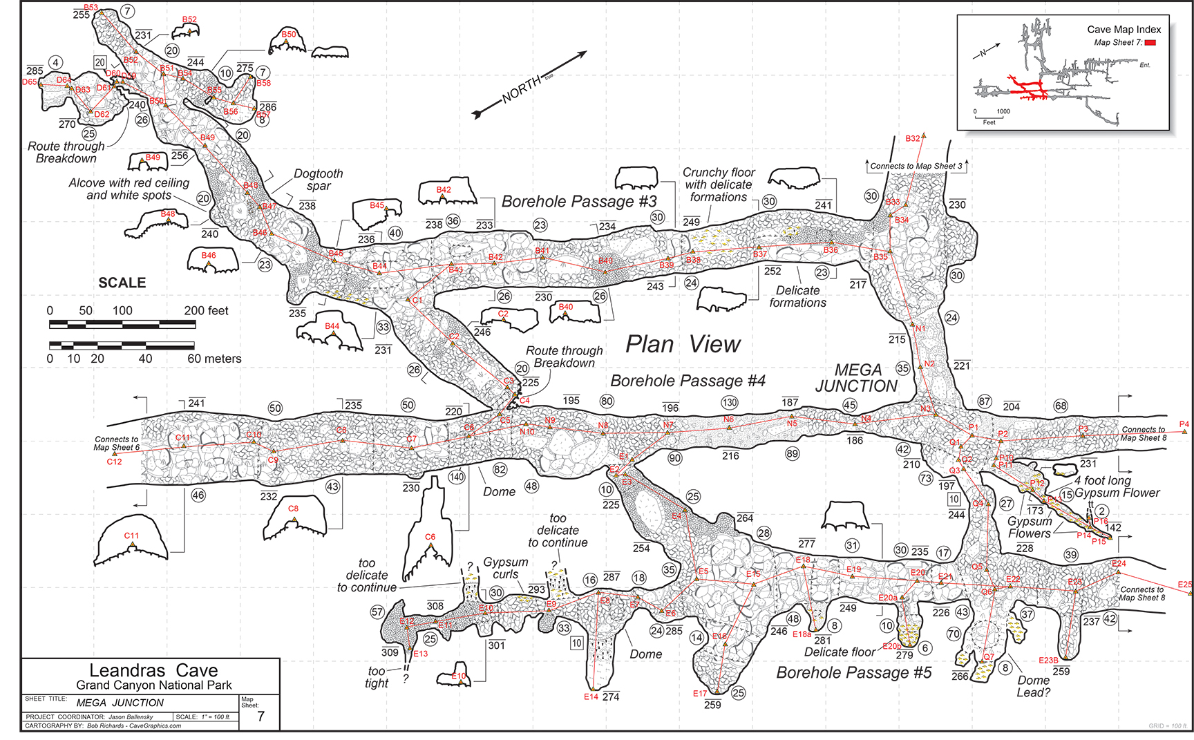 A finished map section of Leandra's Cave, drafted by Dolores resident, Bob Richards. His detailed cartography is highly sought after for large, complicated cave survey projects.