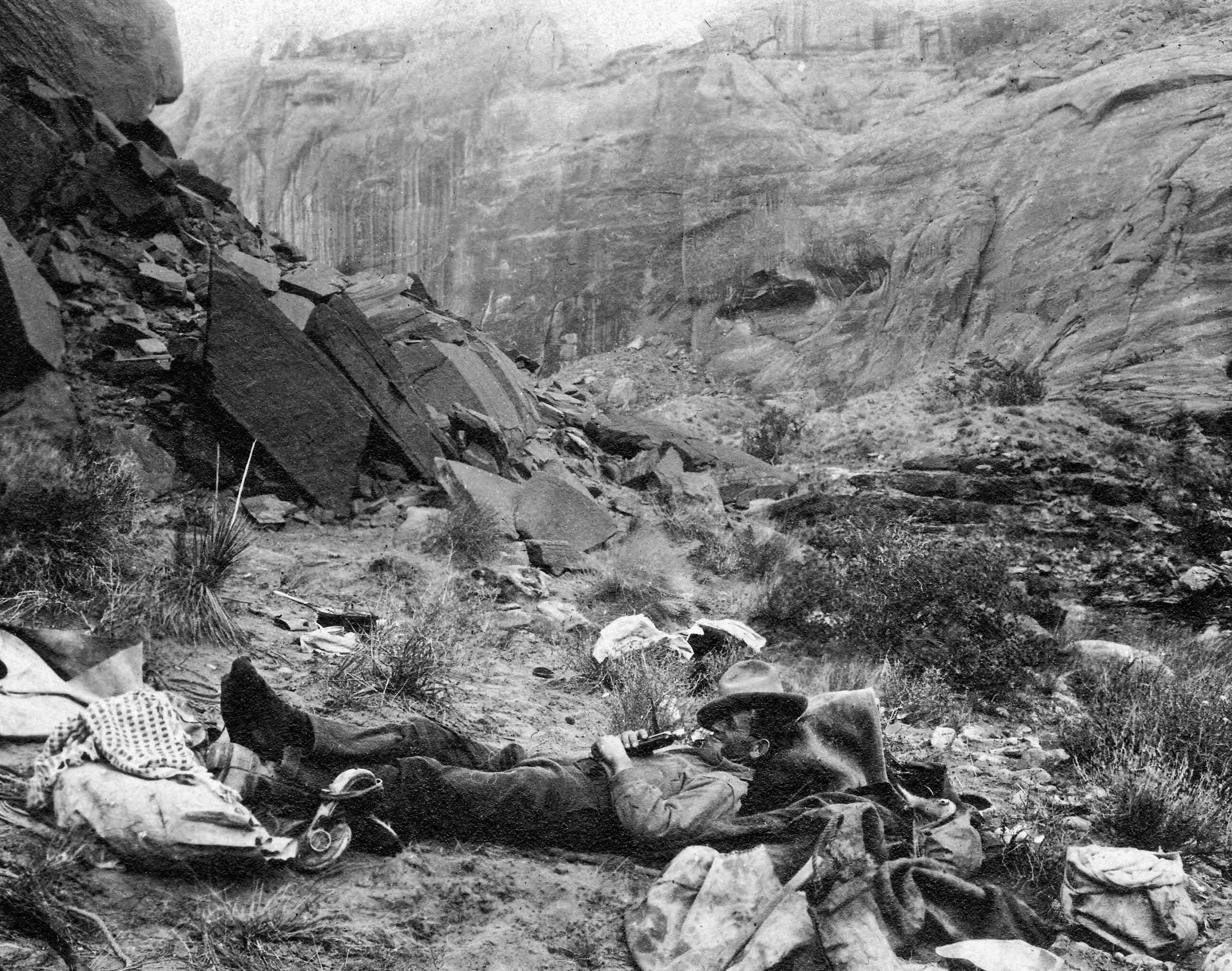 John Wetherill napping at Rainbow Bridge in 1909. Courtesy of Harvey Leake