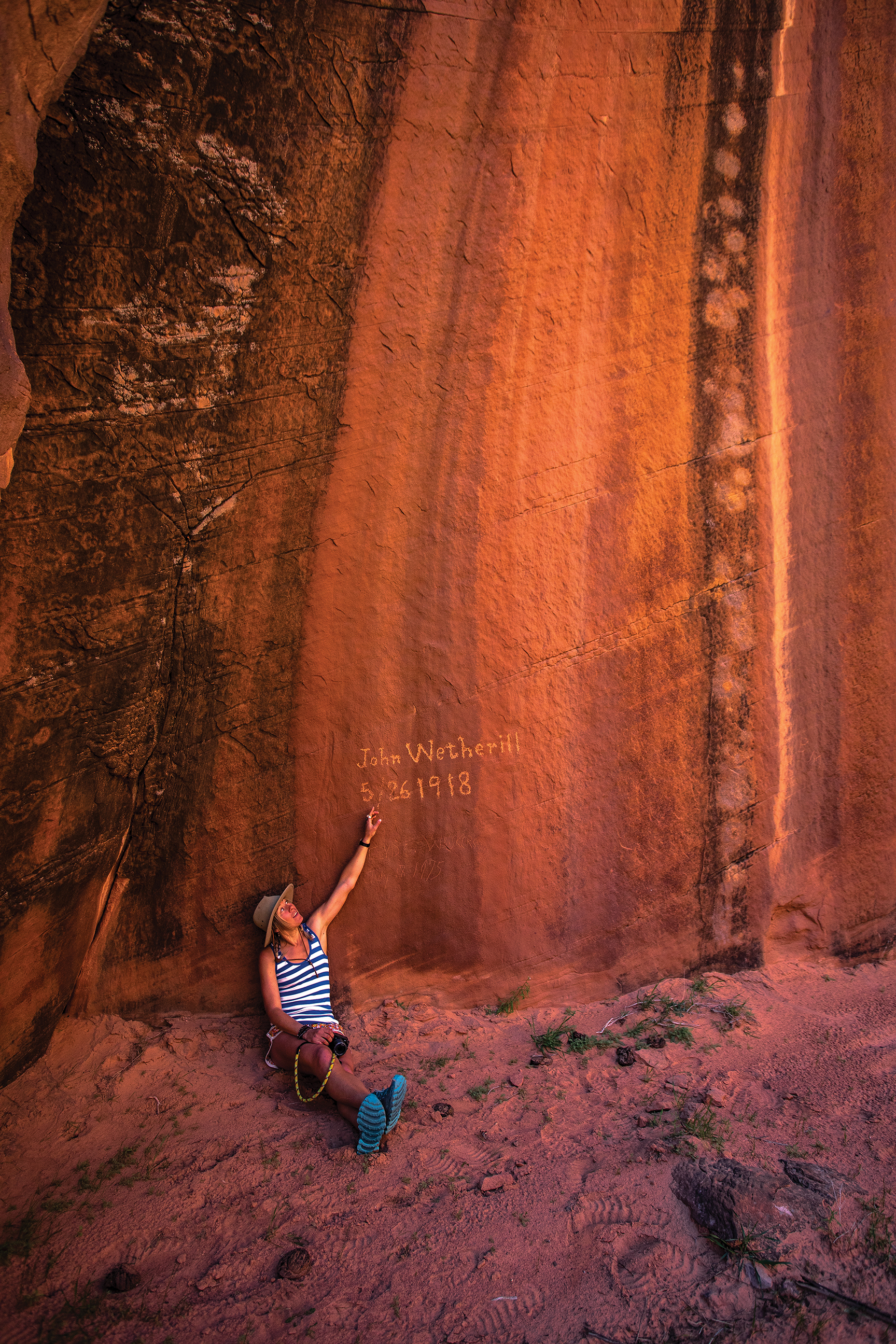 Inscription in a remote remote canyon below the Rainbow Trail. Photo by Stephen Eginoire