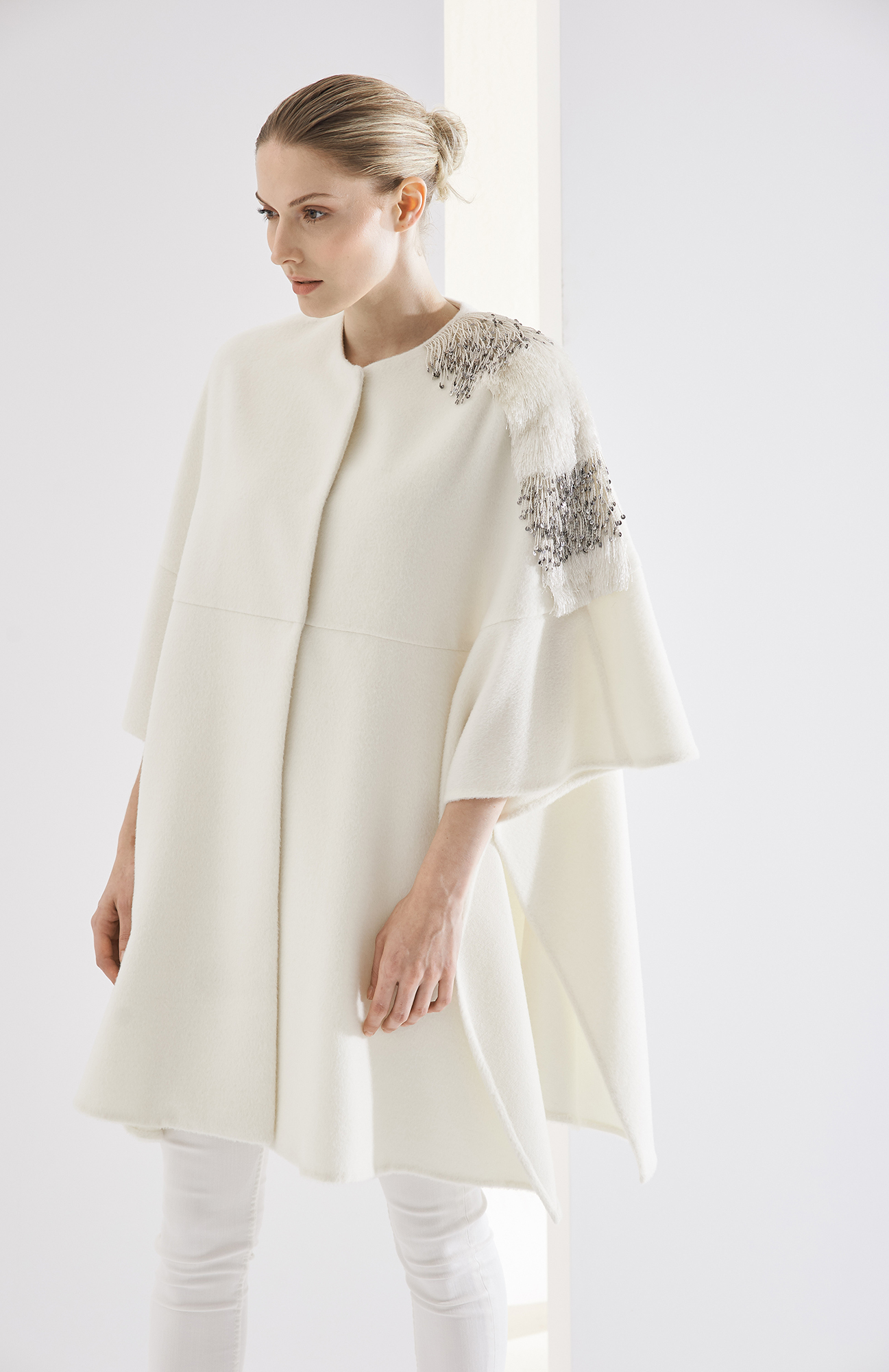 CAPE BERENICE AT-346   Colors:  winter white  only  Sizes: S, M, L