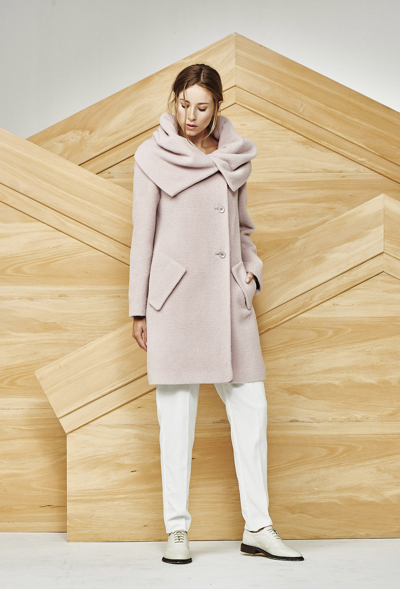 COAT INES AT-297   Colors:  soft rose,  winter white, burgundy, black  Sizes: S, M, L, XL