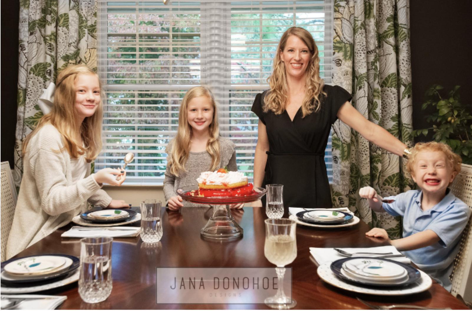 Jana Donohoe of Fayetteville, North Carolina based Jana Donohoe Designs with her 3 children, Thanksgiving 2018.