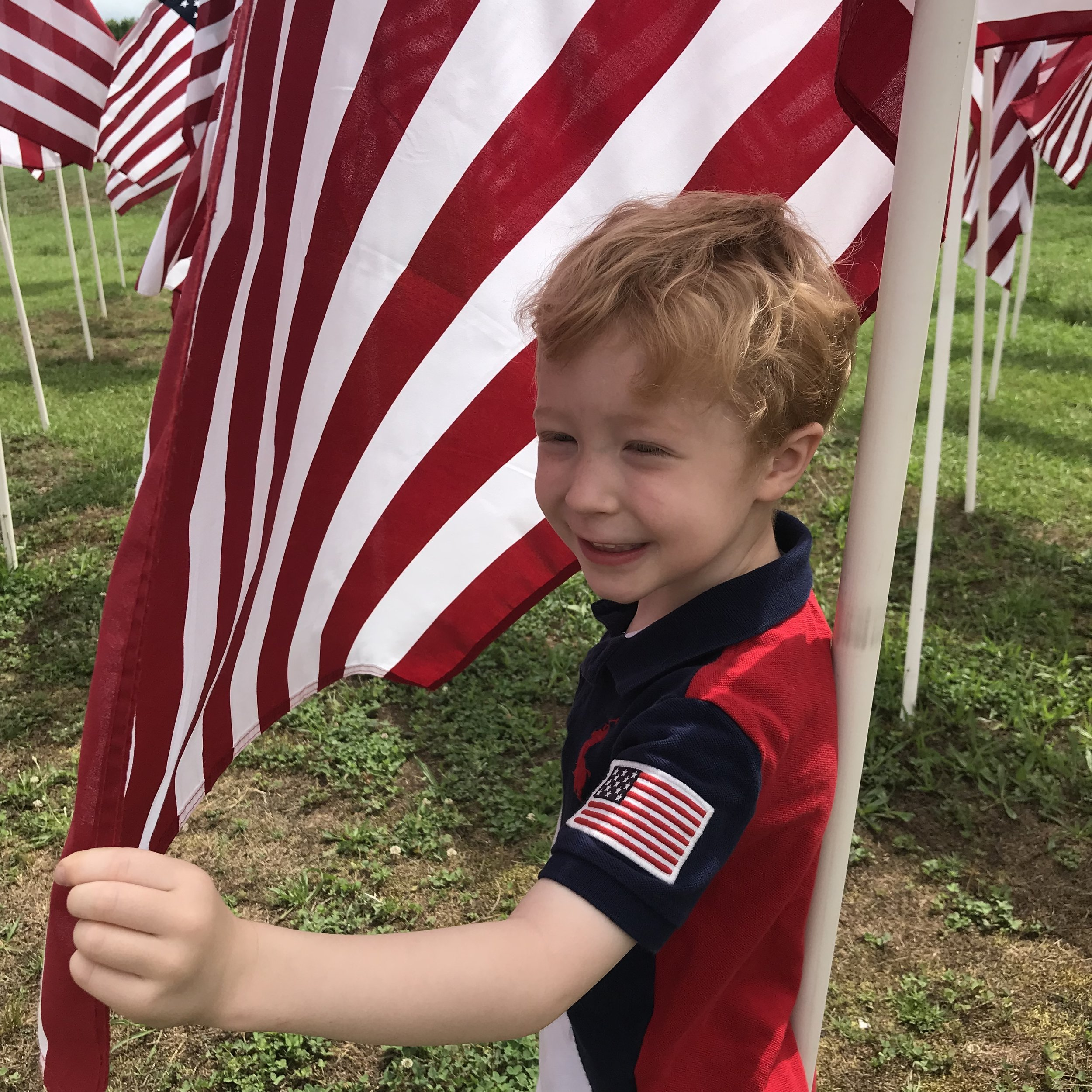Jana and Christian Donohoe's son, at the Flag Field at the U.S. Army Airborne and Special Operations Museum in Fayetteville
