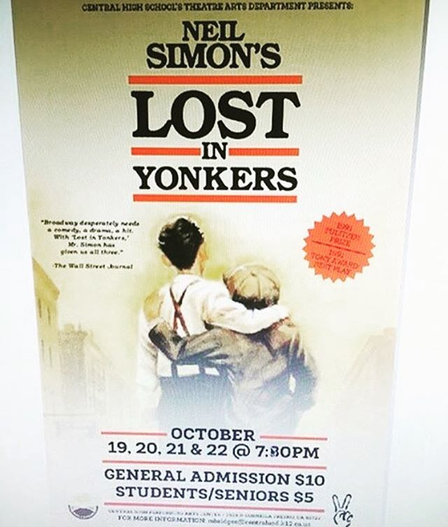 Let's all go out and support Central Theater's production of Lost in Yonkers! Dates are October 19-22 at 7:30 at the PAC. Tickets are $5 students and seniors, $10 general admission. Hope to see you all there!